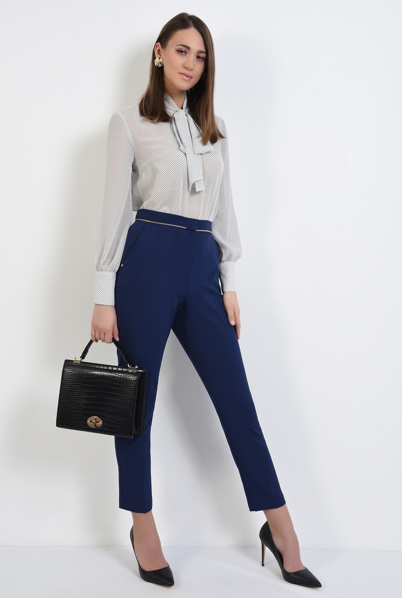 3 - pantaloni office, bleumarin, talie medie, cu buzunare, pantaloni de primavara