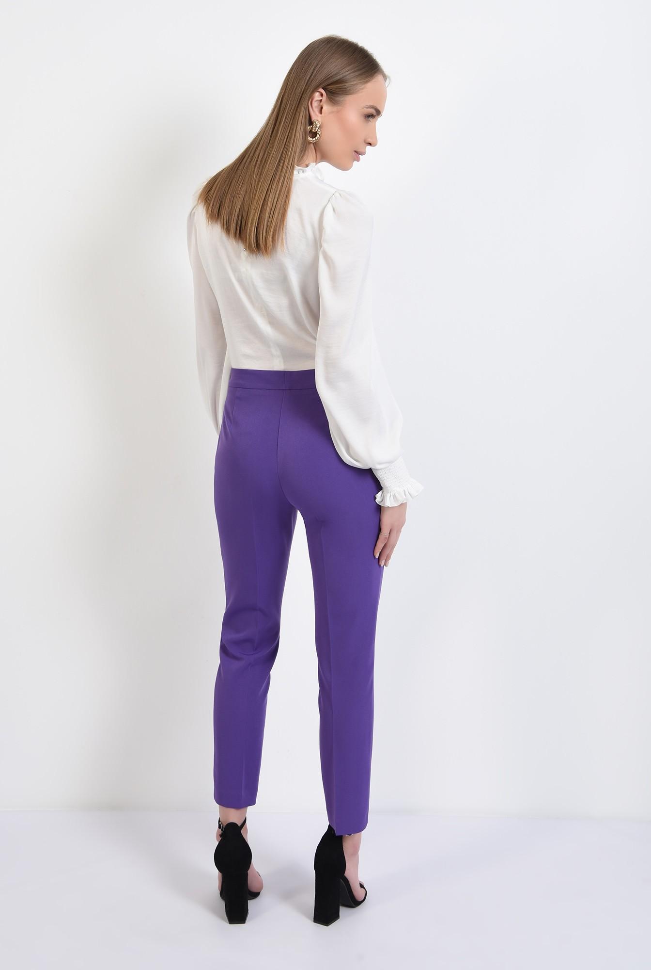 1 -  pantaloni mov, casual, conici, croi tigareta, cu buzunare