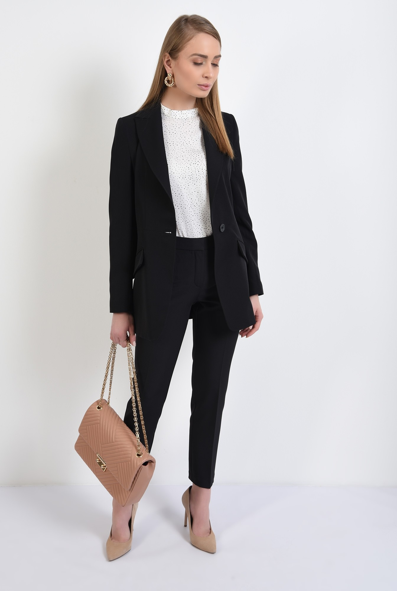 3 - pantaloni conici, tigareta, la dunga, talie medie, Poema