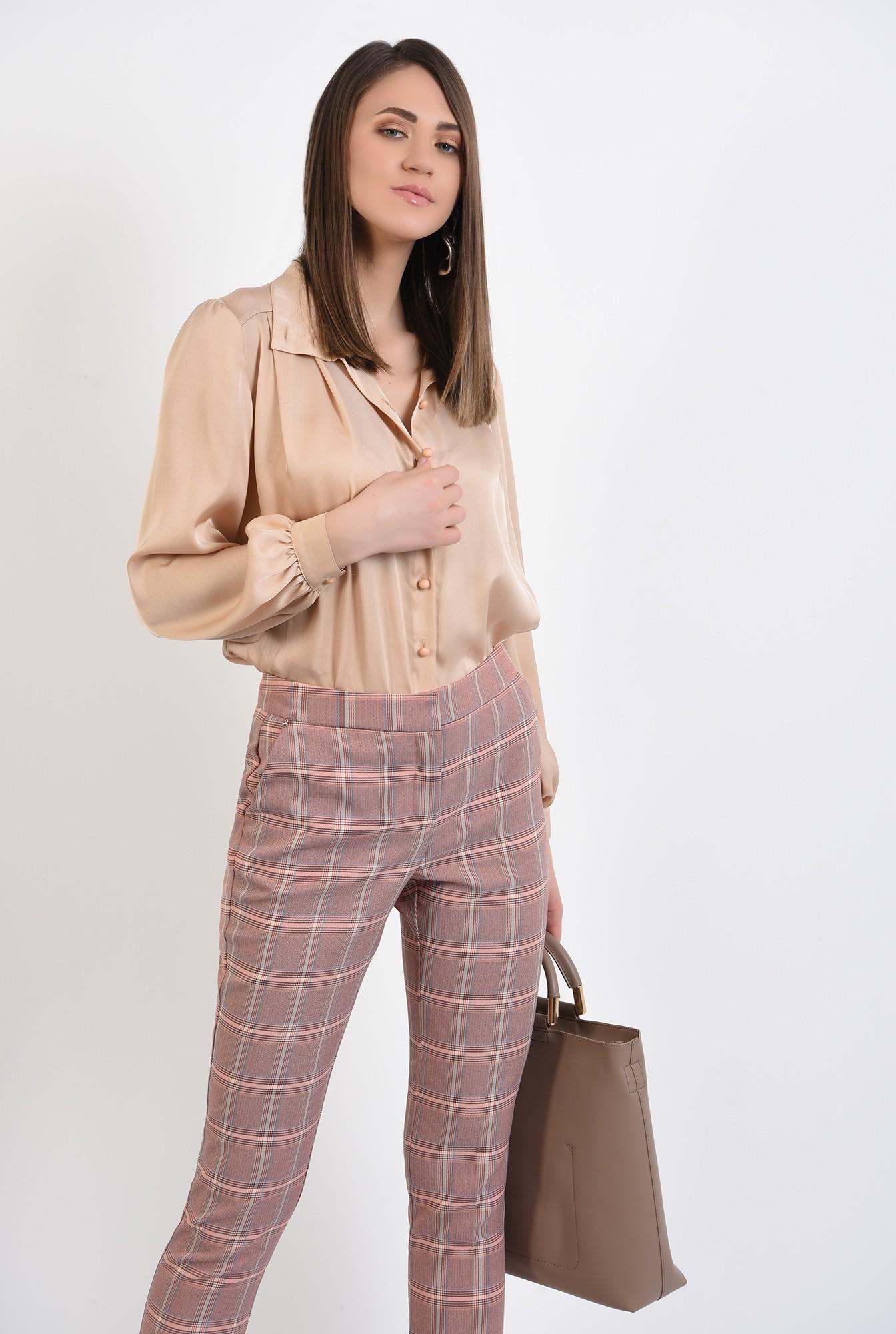 2 - 360 - pantaloni conici, in carouri, cu talie medie, cu buzunare, Poema