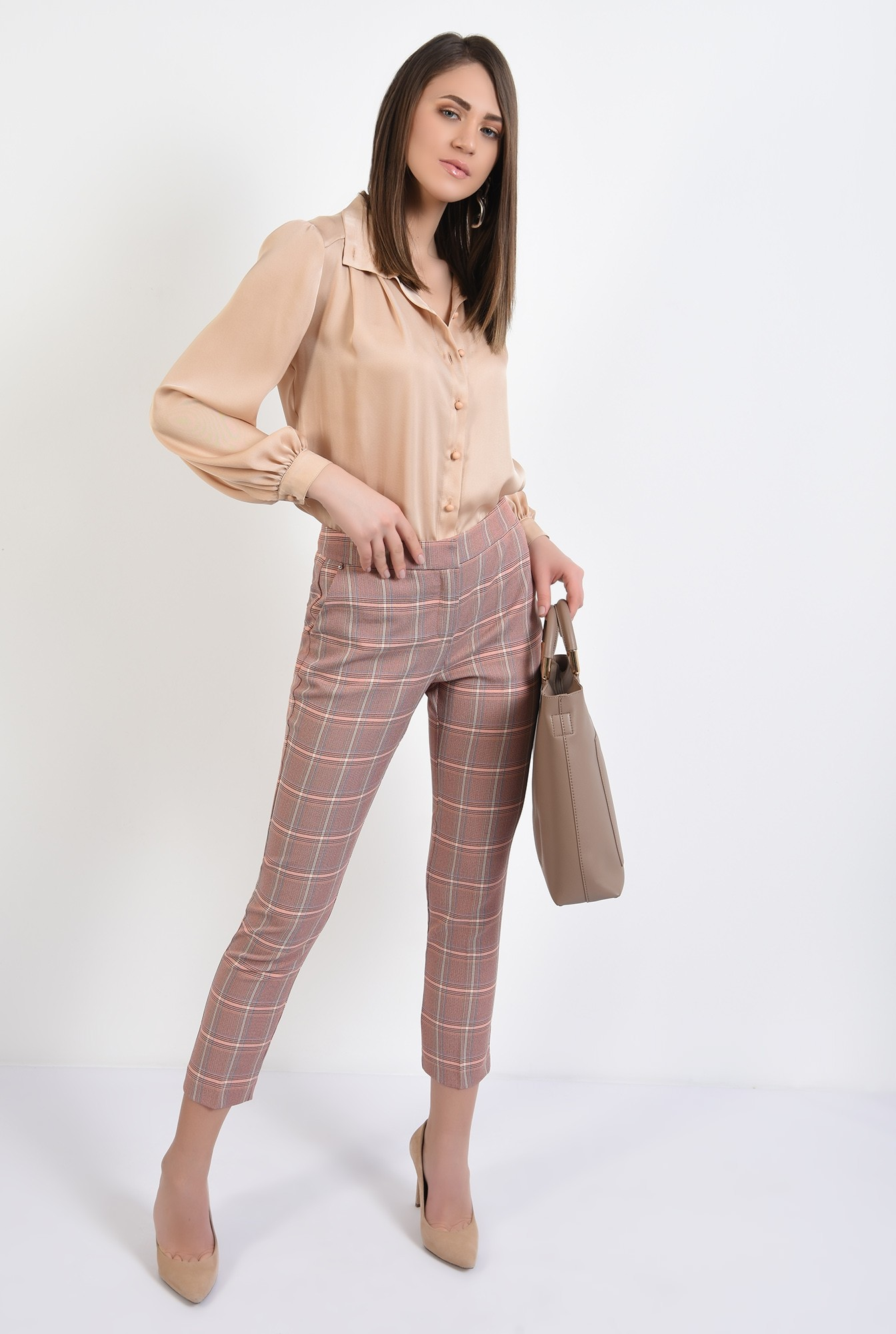 0 - 360 - pantaloni conici, in carouri, cu talie medie, cu buzunare, Poema