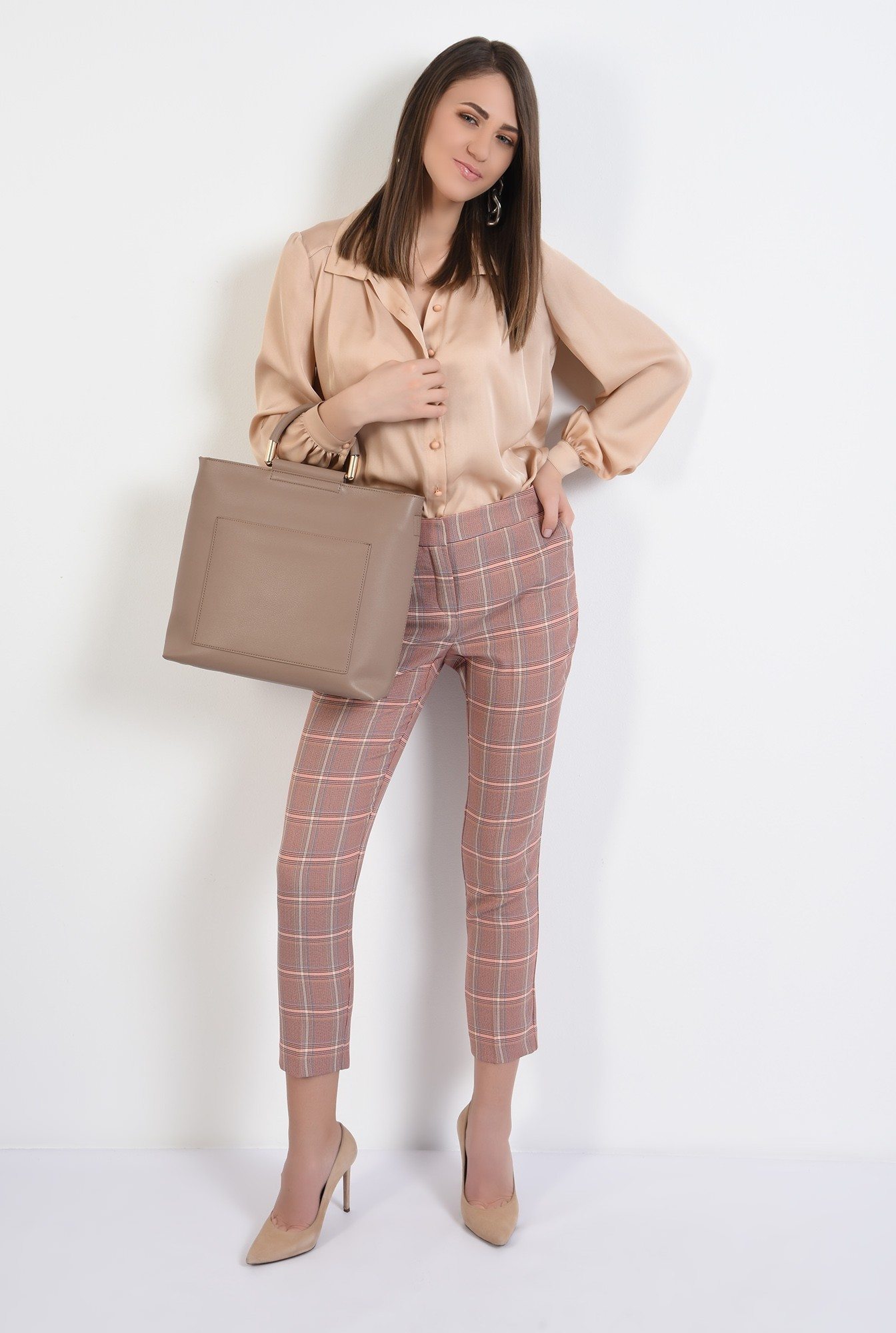 3 - 360 - pantaloni conici, in carouri, cu talie medie, cu buzunare, Poema