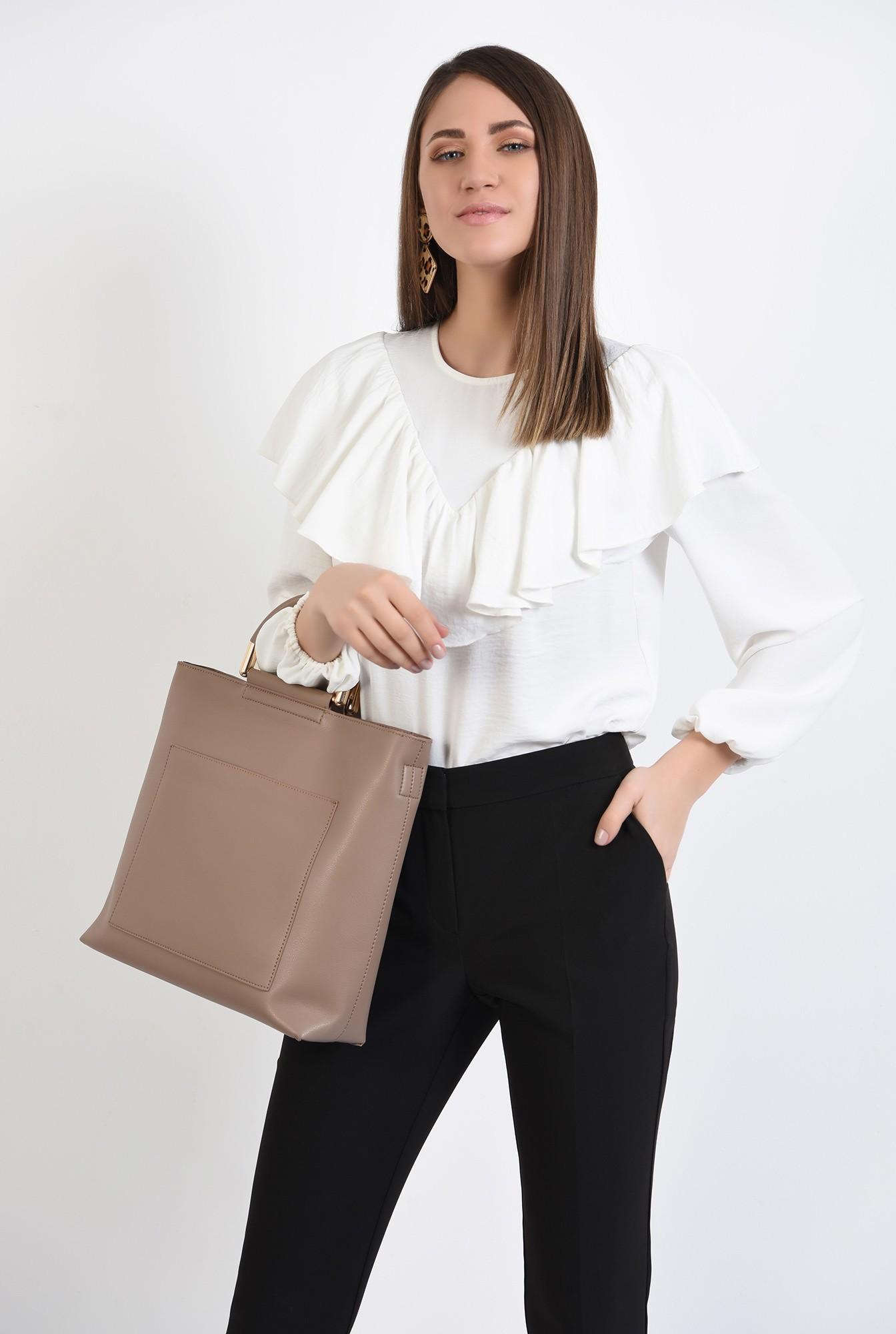 2 - bluza casual, cu platca, volan, maneci bufante, alb, bluza de primavara