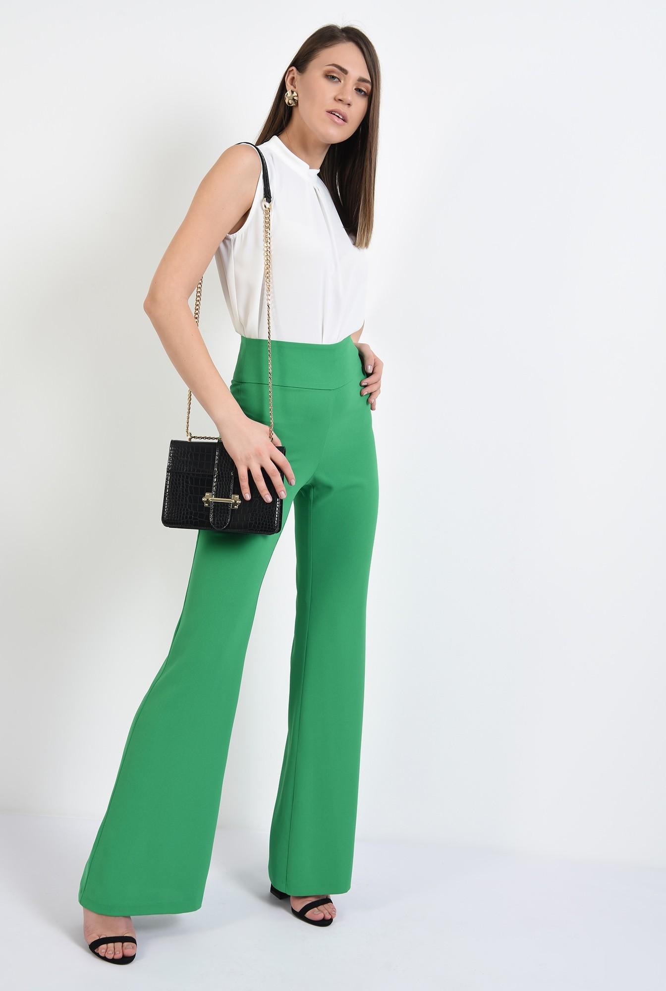 0 -  pantaloni evazati, talie inalta, betelie contur, pantaloni de primavara