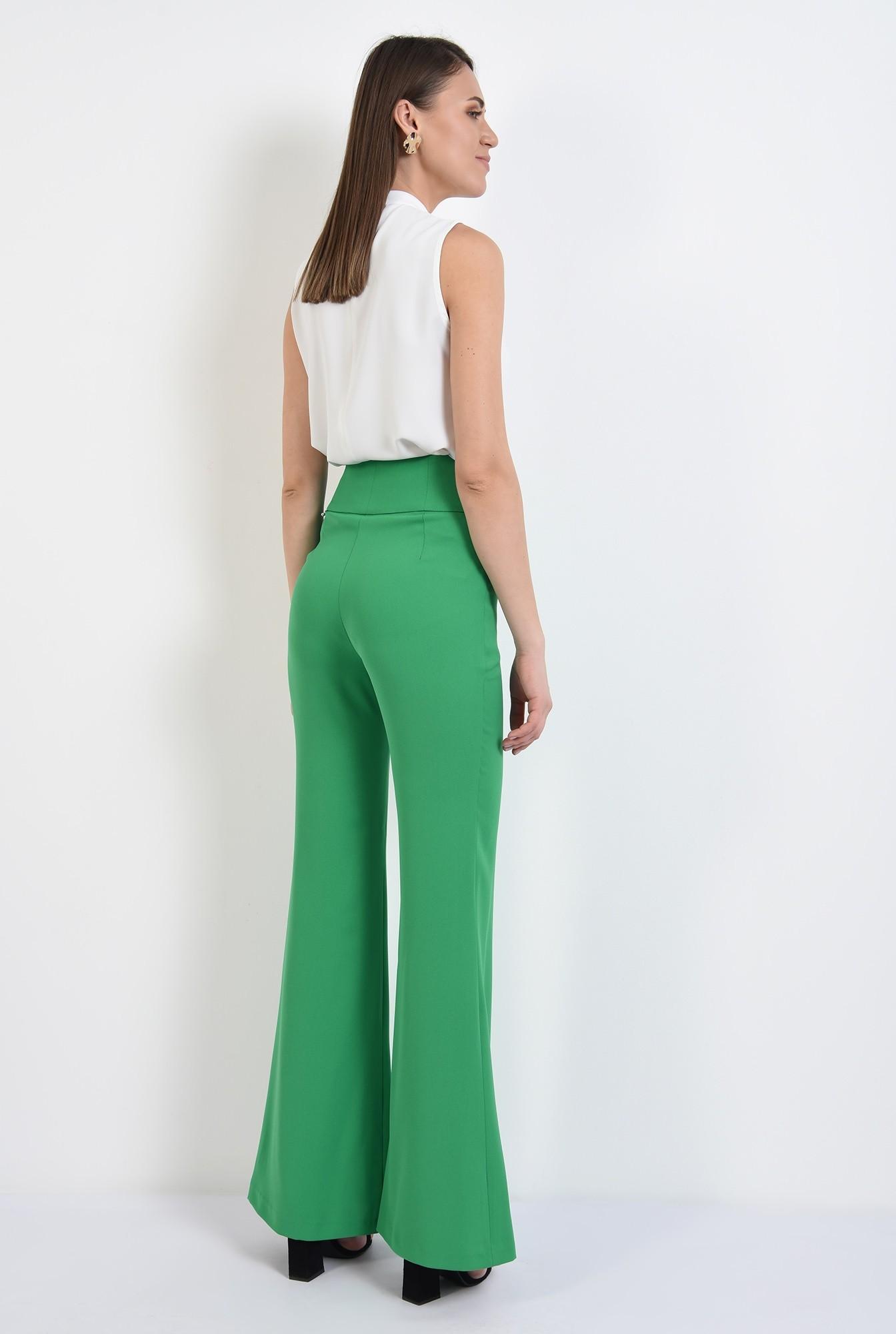 1 -  pantaloni evazati, talie inalta, betelie contur, pantaloni de primavara