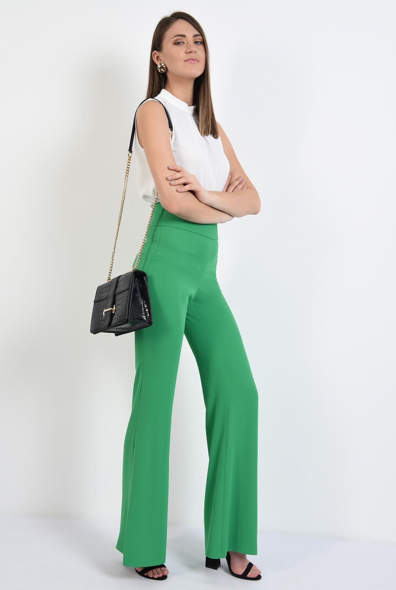 3 -  pantaloni evazati, talie inalta, betelie contur, pantaloni de primavara