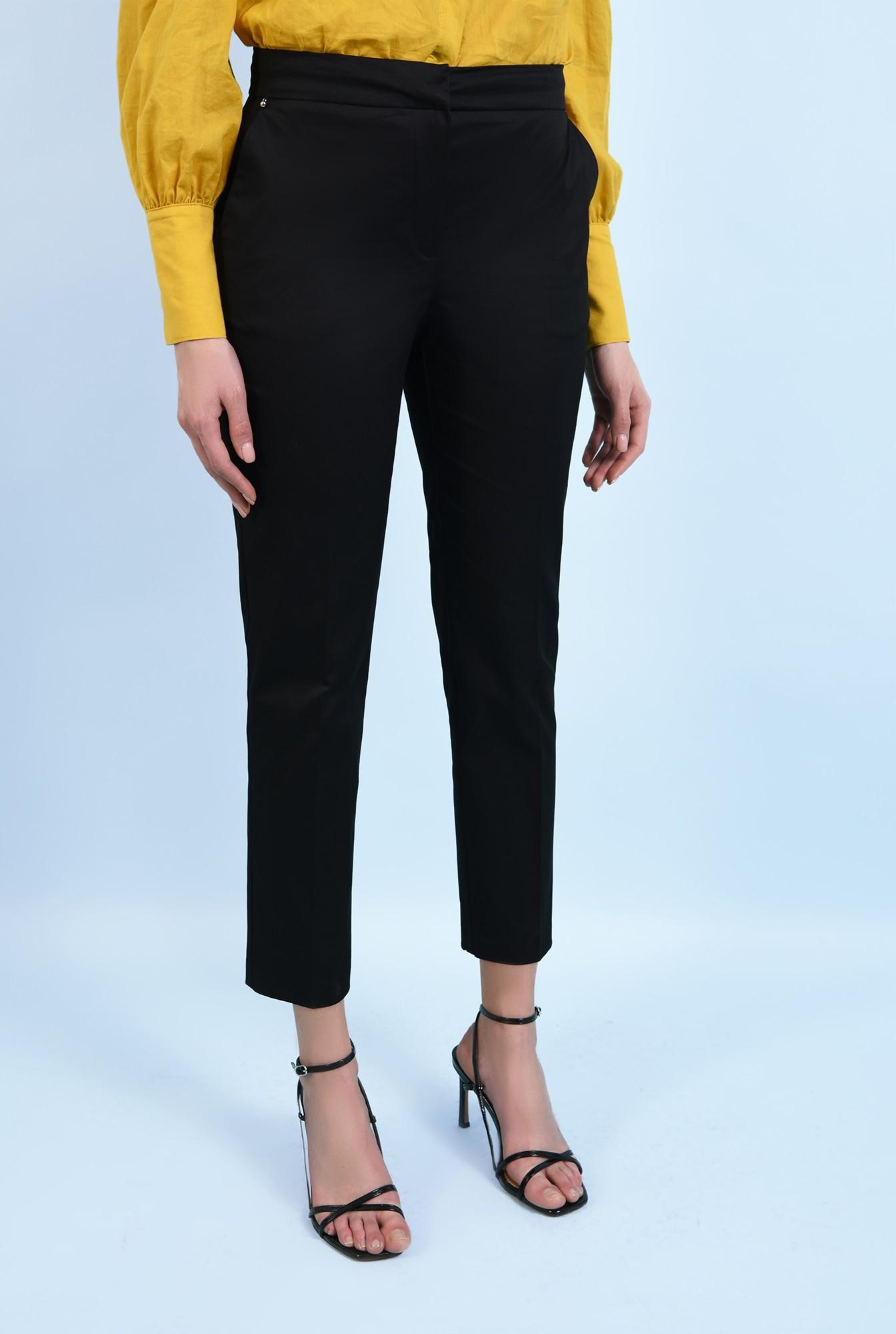 2 - pantaloni negri, casual, din bumbac, cu croi conic, cu buzunare