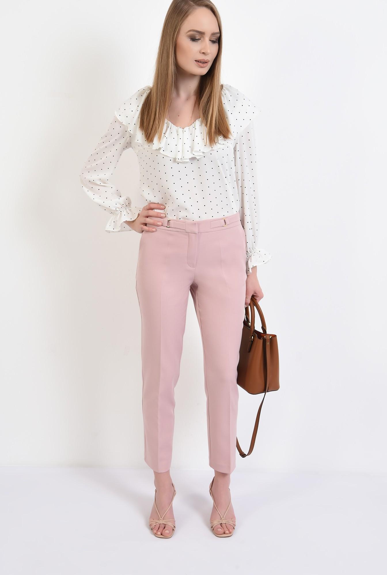 3 -  pantaloni conici, office, cu buzunare, talie medie, betelie cu detalii