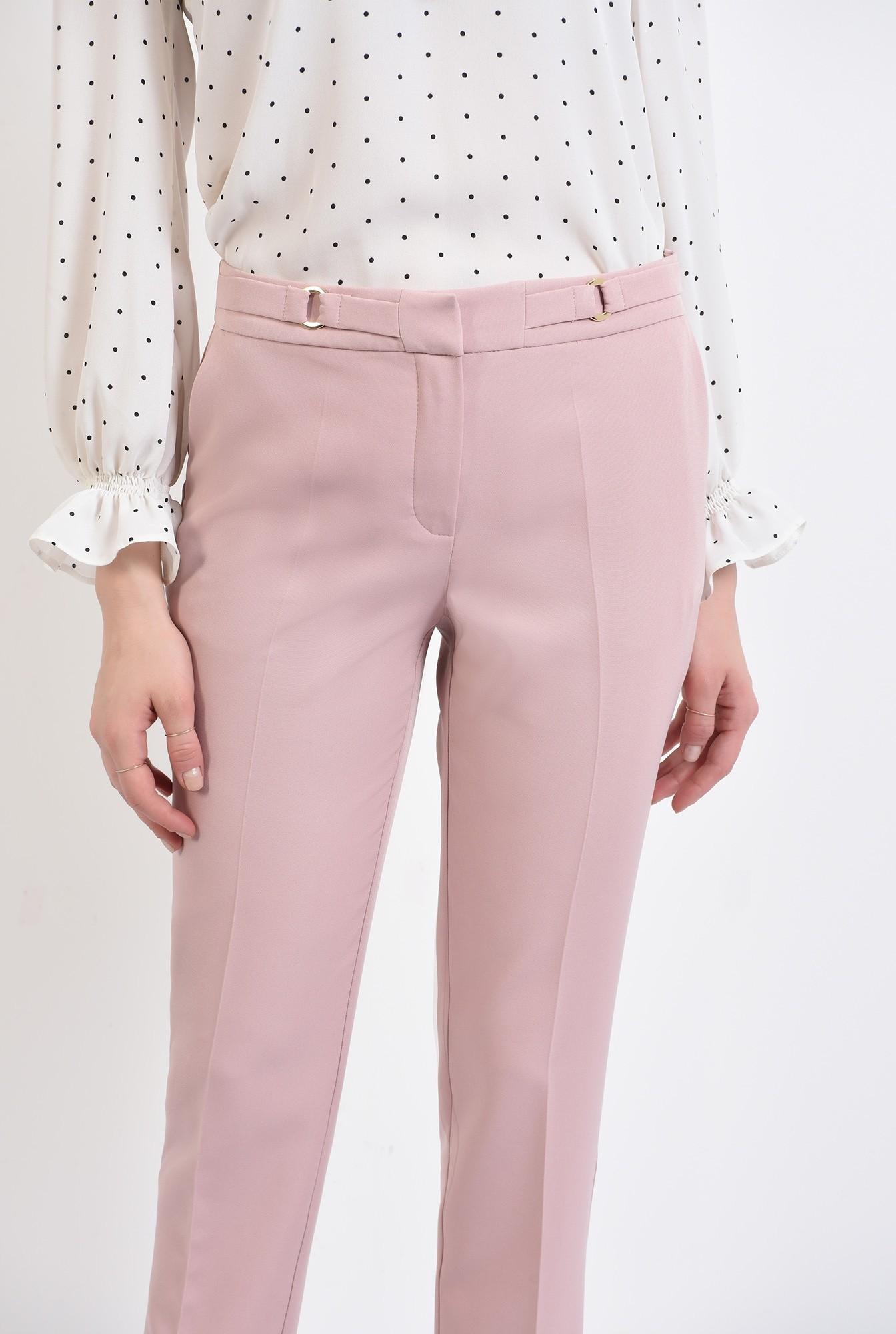 2 -  pantaloni conici, office, cu buzunare, talie medie, betelie cu detalii