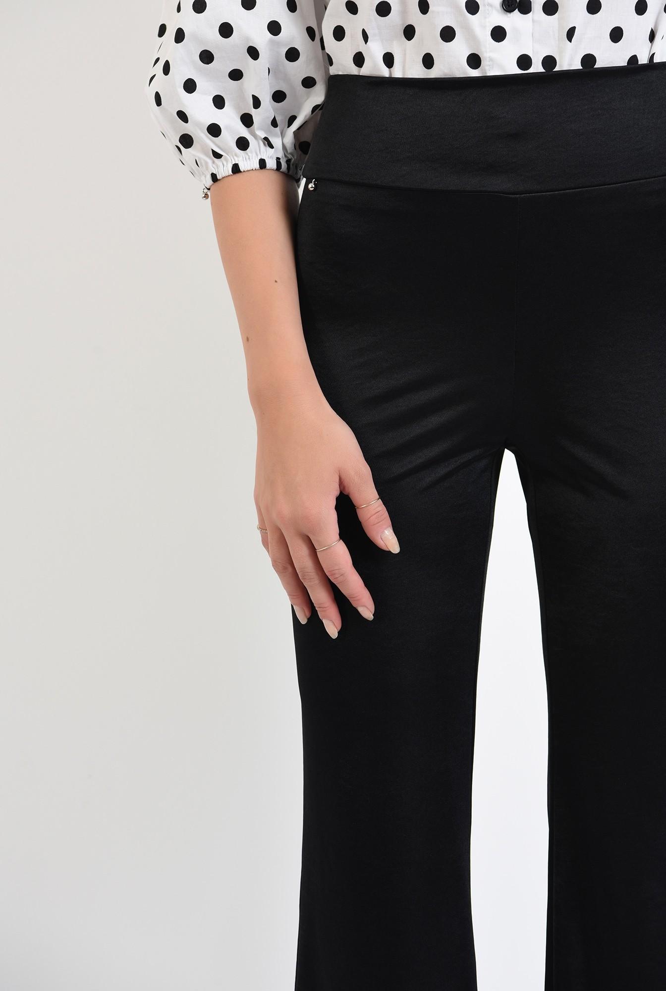 2 -  pantaloni casual, evazati, lungi, cu betelie lata, negru