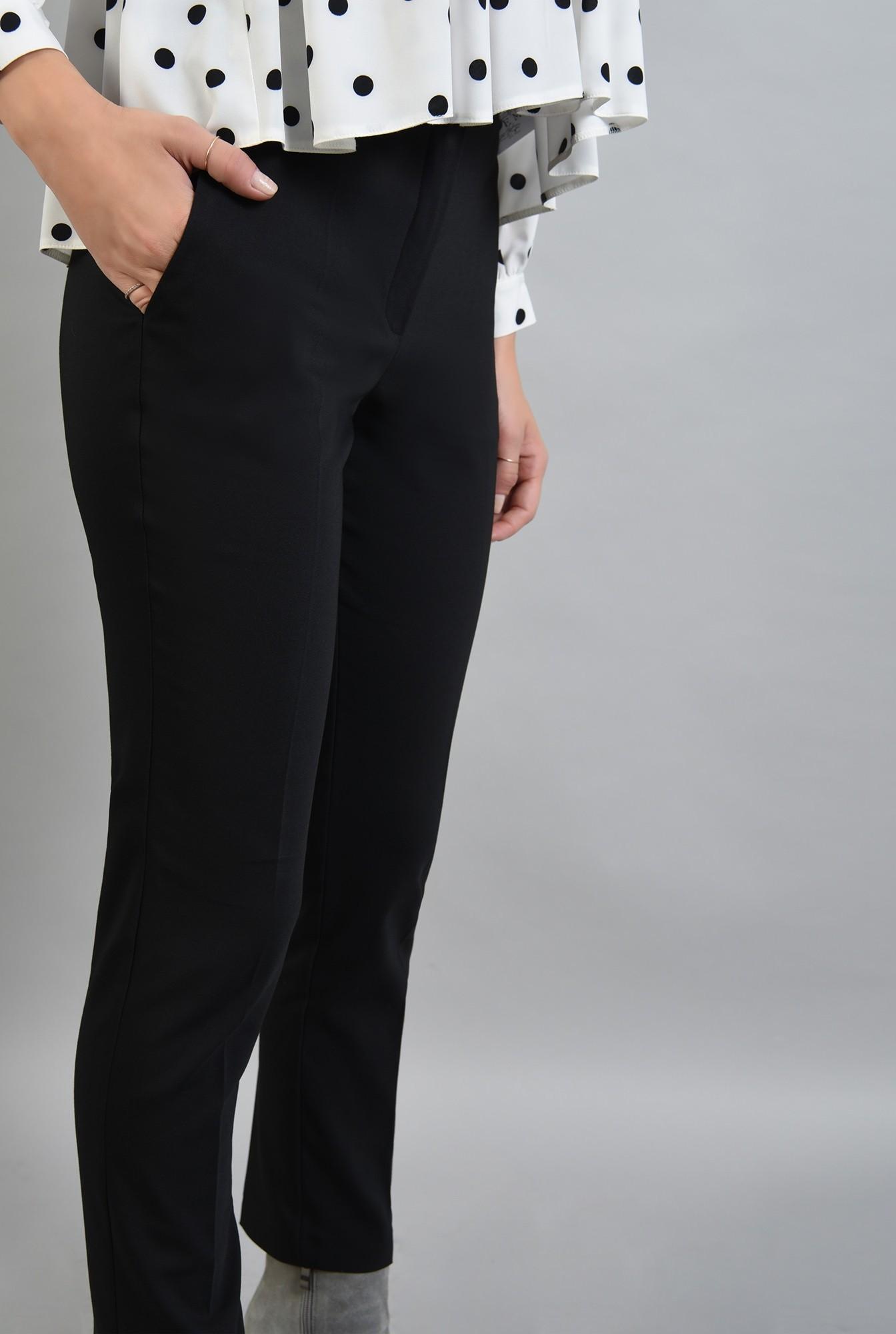 2 - 360 - pantaloni negri conici, cu buzunare laterale