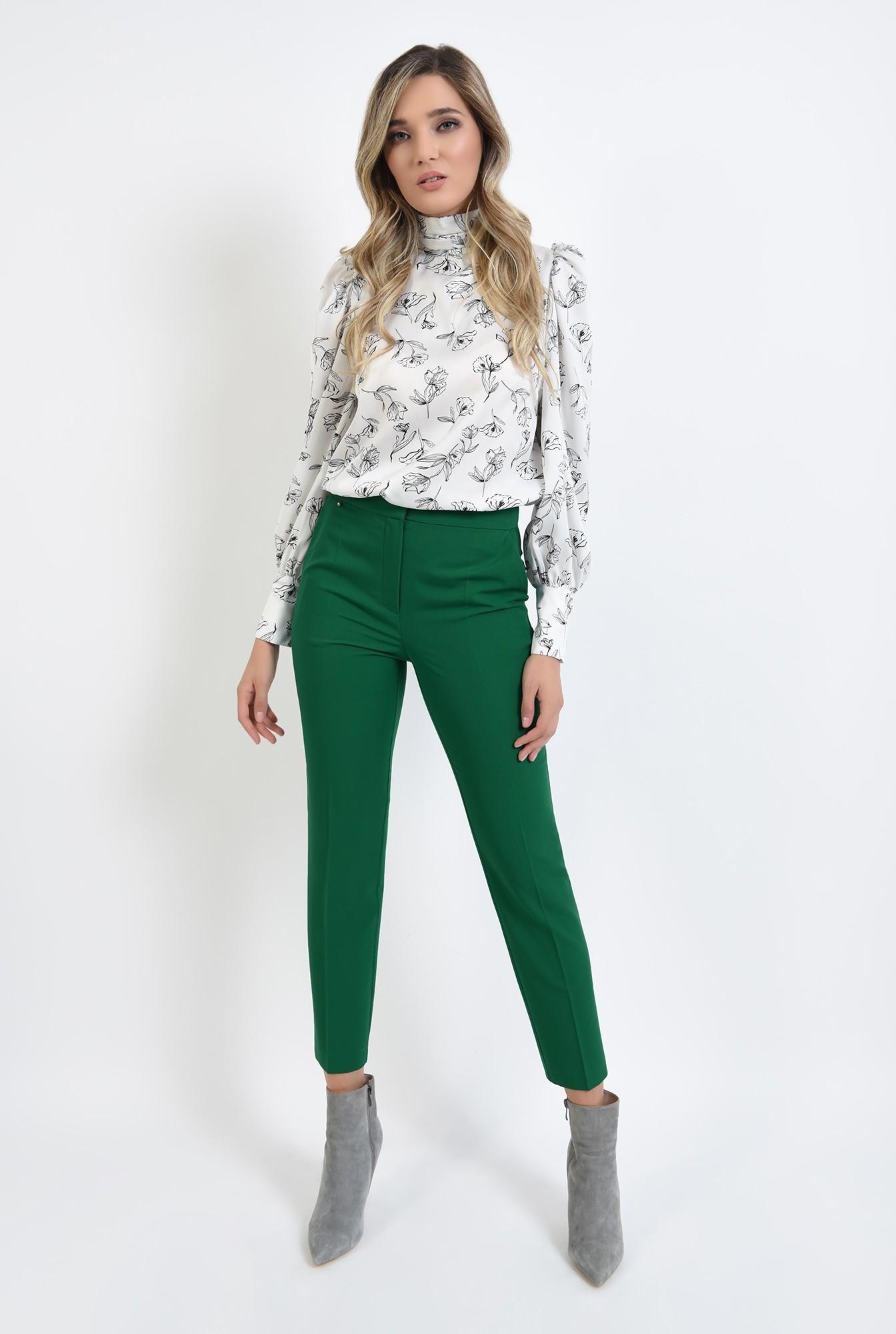 0 - pantaloni verzi, conici, cu talie medie