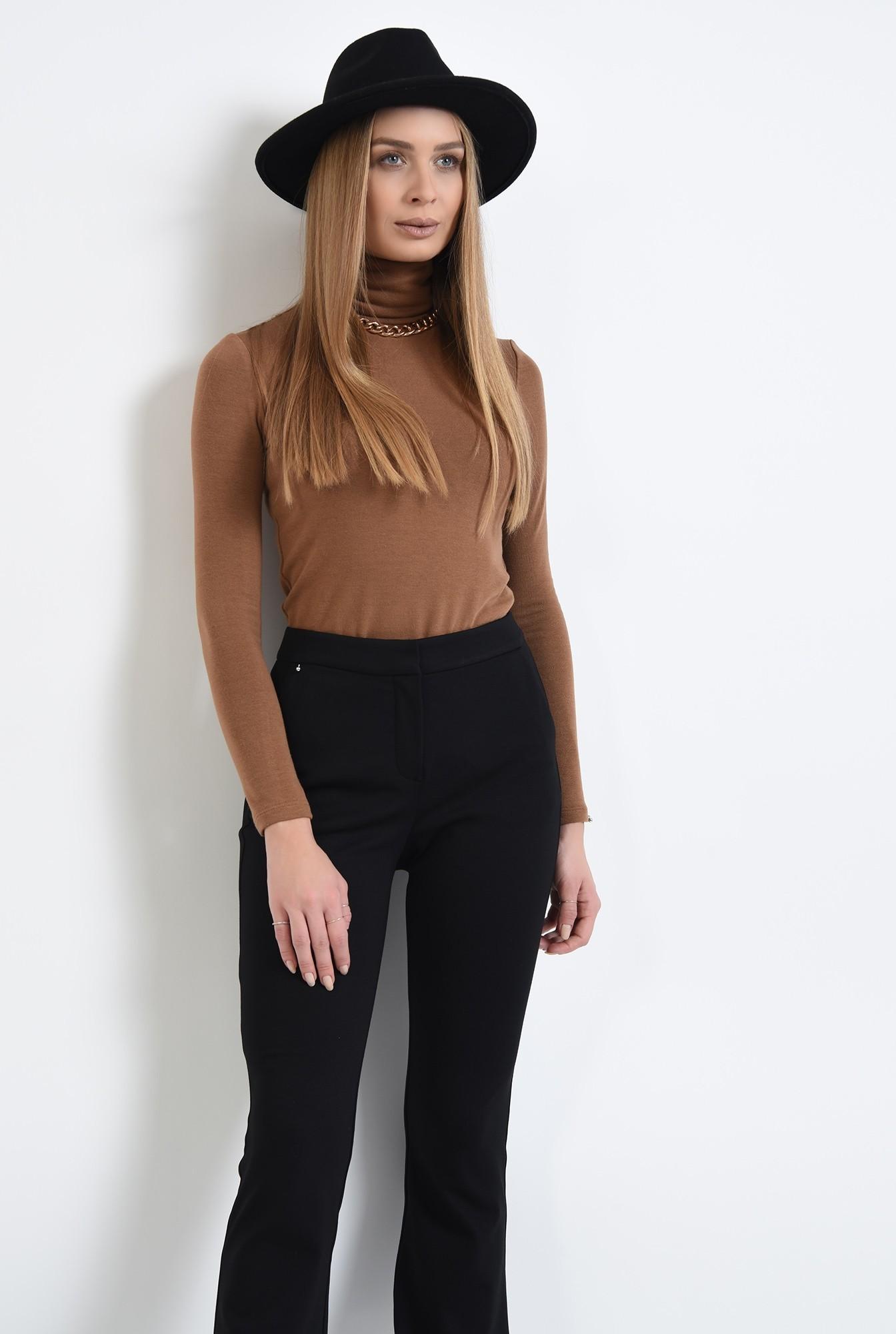 2 - pantaloni negri, cu talie medie, cu buzunare