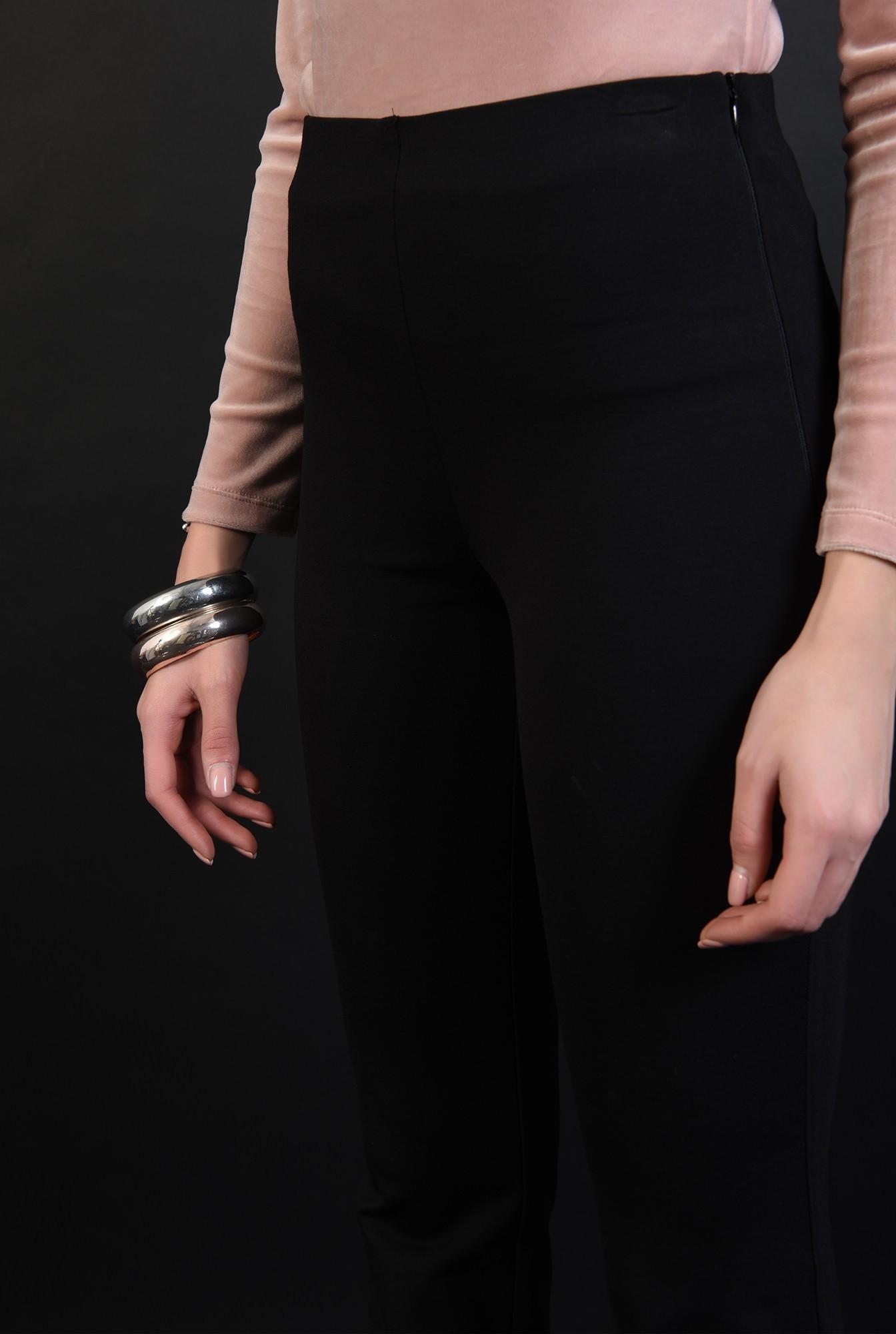 3 - pantaloni stretch, negri, casual, cu talie medie