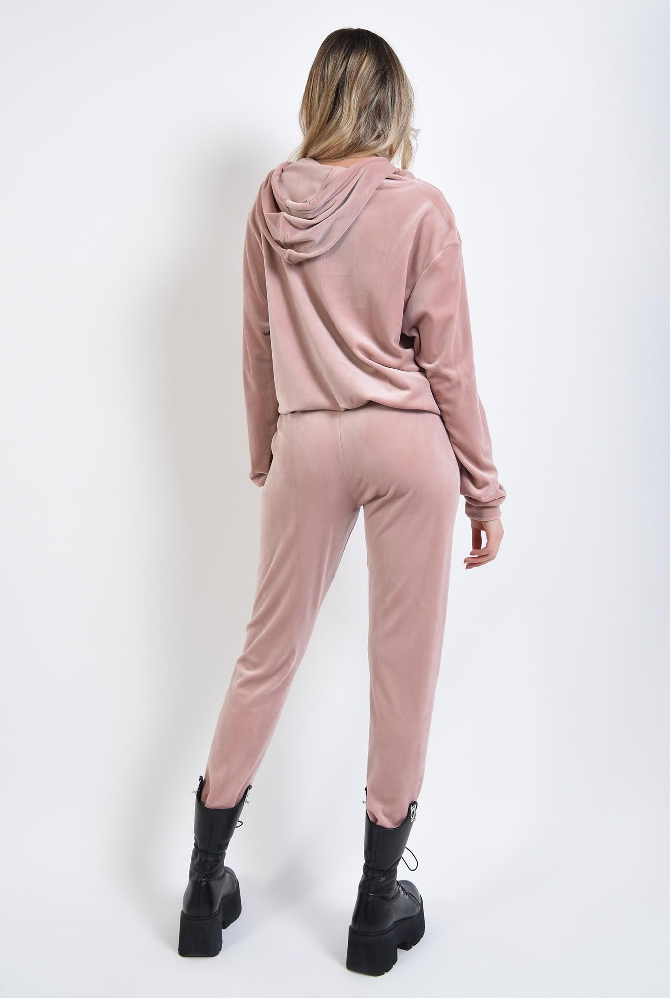 2 - 360 - pantaloni roz, din catifea, cu buzunare
