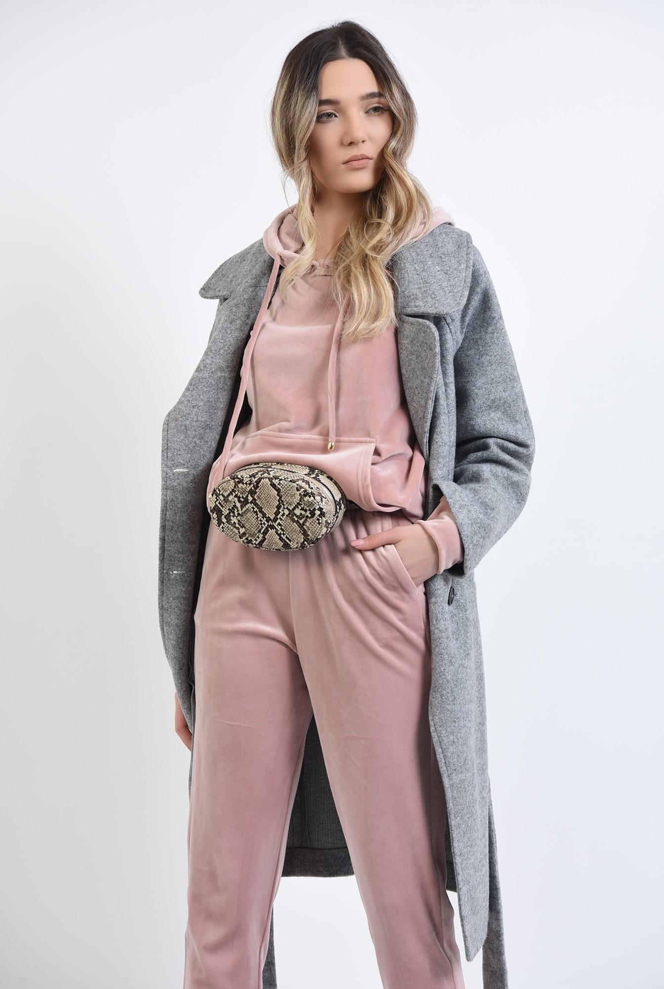 1 - 360 - pantaloni roz, din catifea, cu buzunare