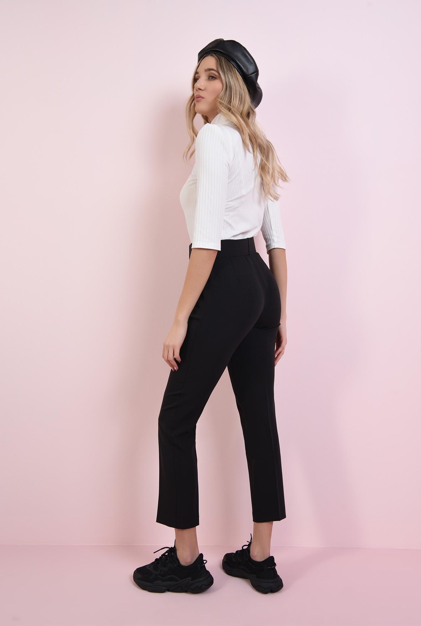 1 - pantaloninegri, cu talie medie, cu centura