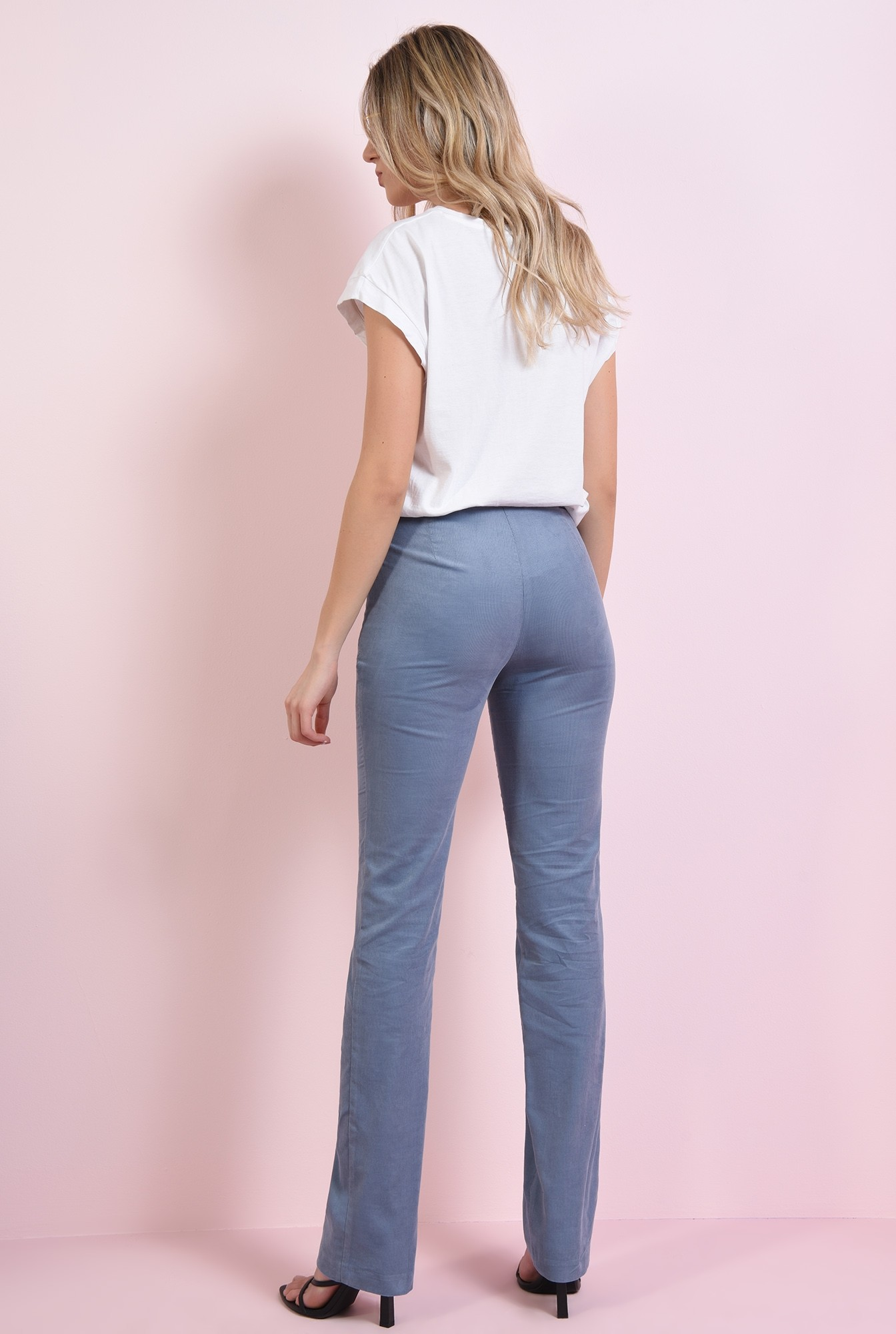 1 - pantaloni drepti, casual, cu fermoar lateral