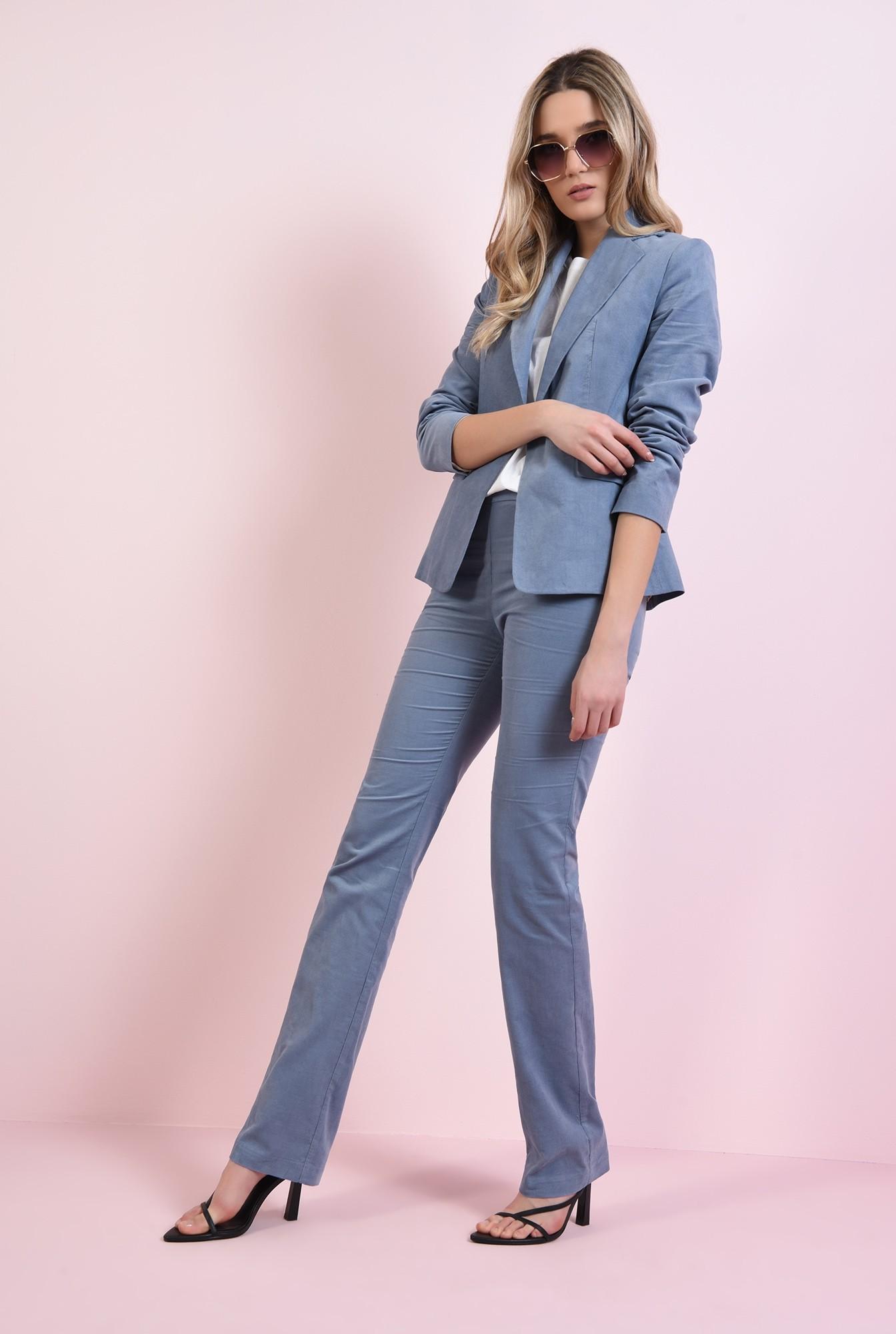 0 - pantaloni drepti, casual, cu fermoar lateral