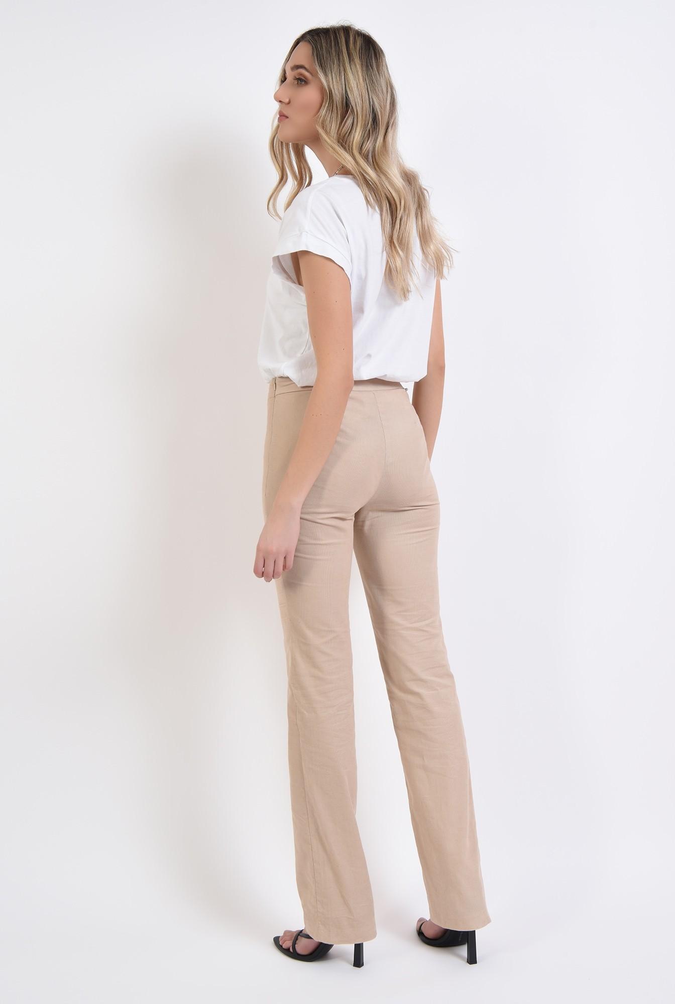 1 - pantaloni reiati, casual, cu fermoar lateral