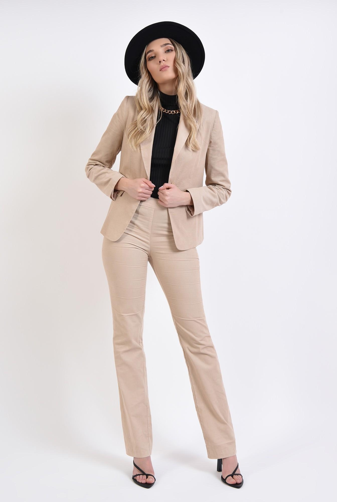 0 - pantaloni reiati, casual, cu fermoar lateral