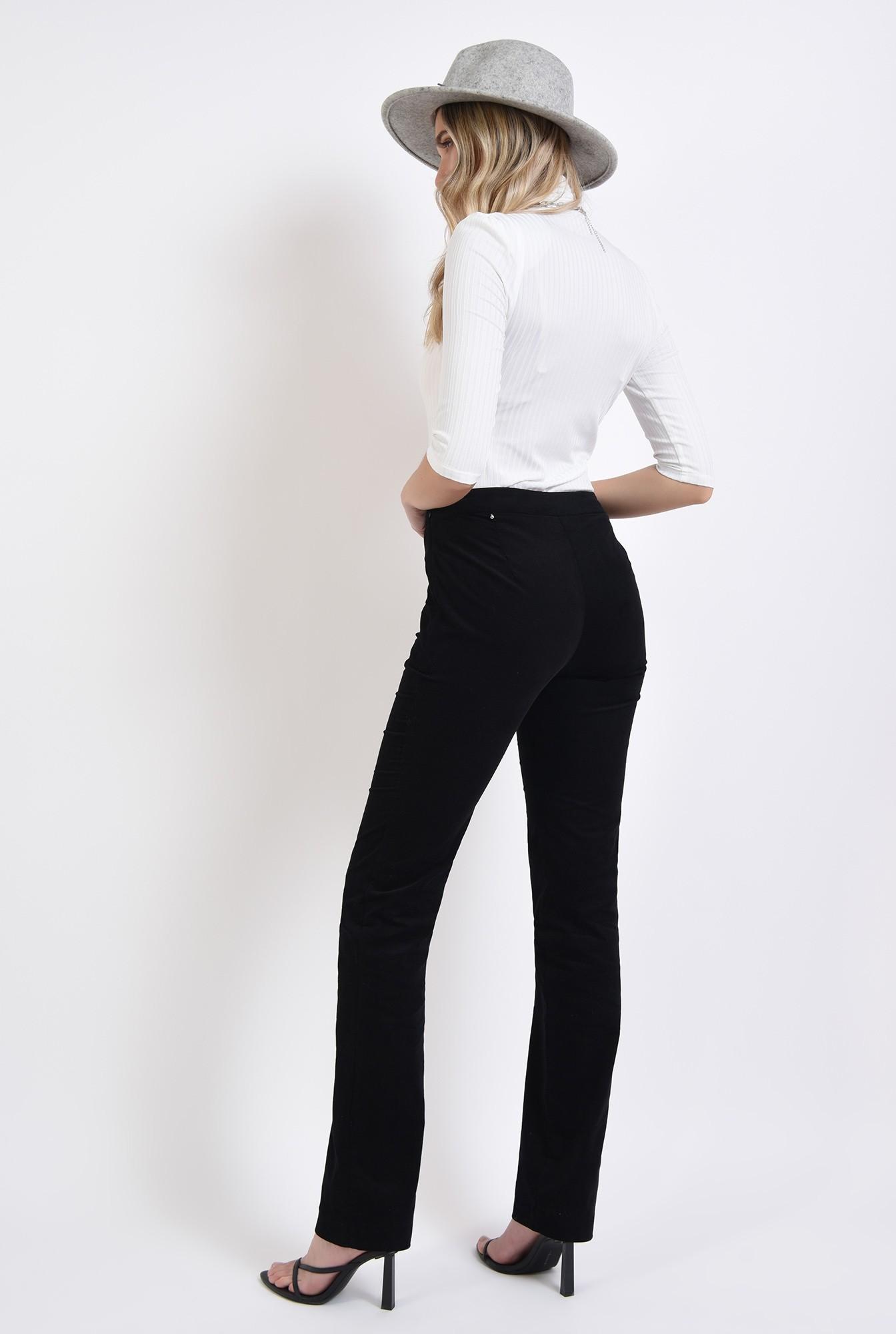 1 - pantaloni negri, reiati, cu talie medie