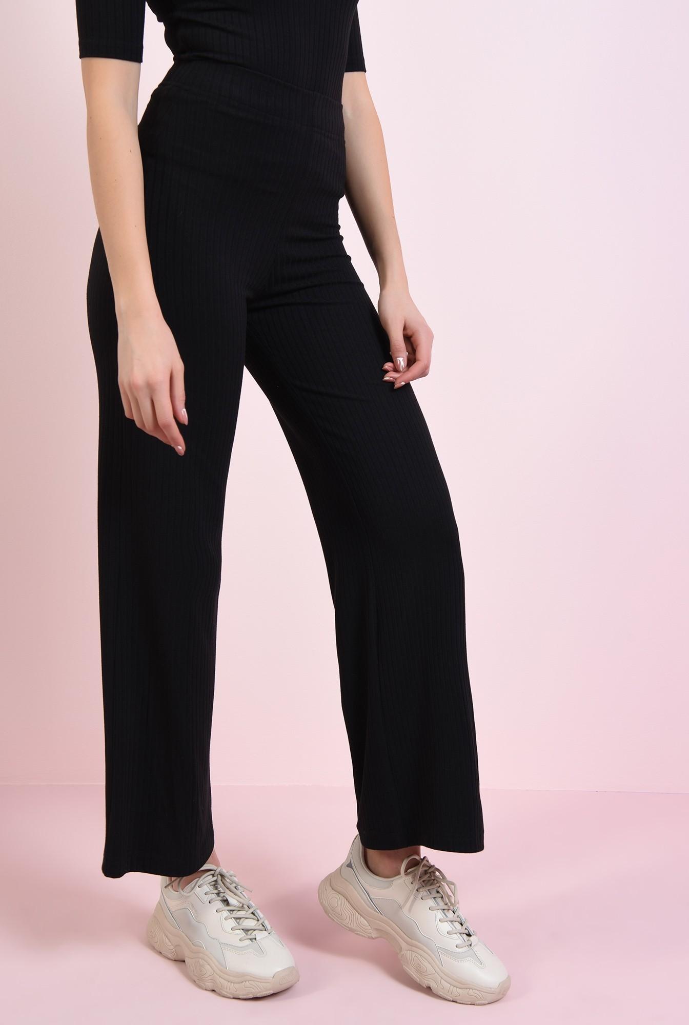 2 - pantaloni negri, cu talie medie