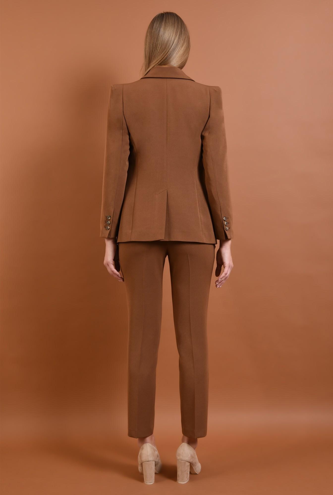 1 - 360 - pantaloni casual, maro, croi conic la dunga, buzunare