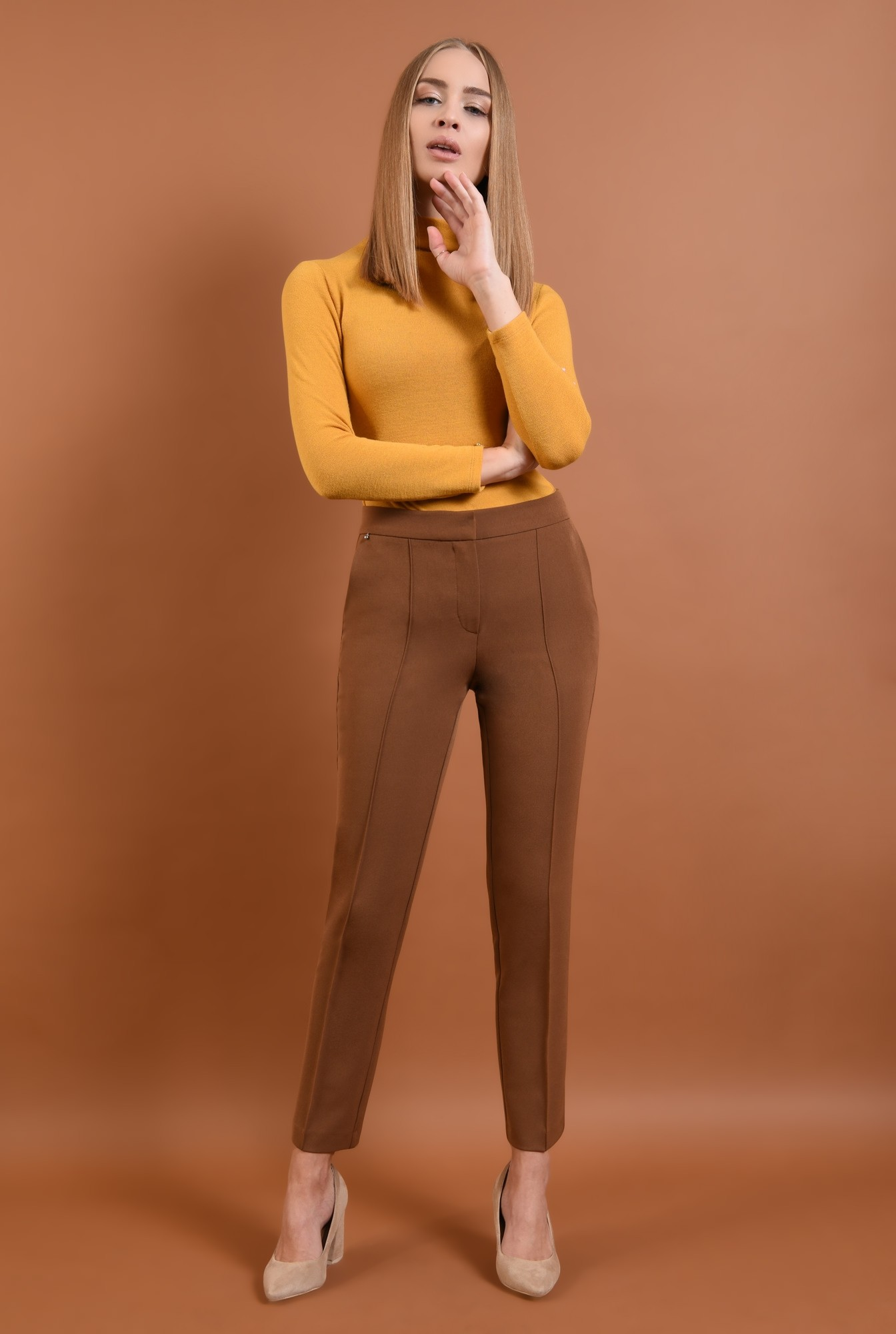 0 - 360 - pantaloni casual, maro, croi conic la dunga, buzunare