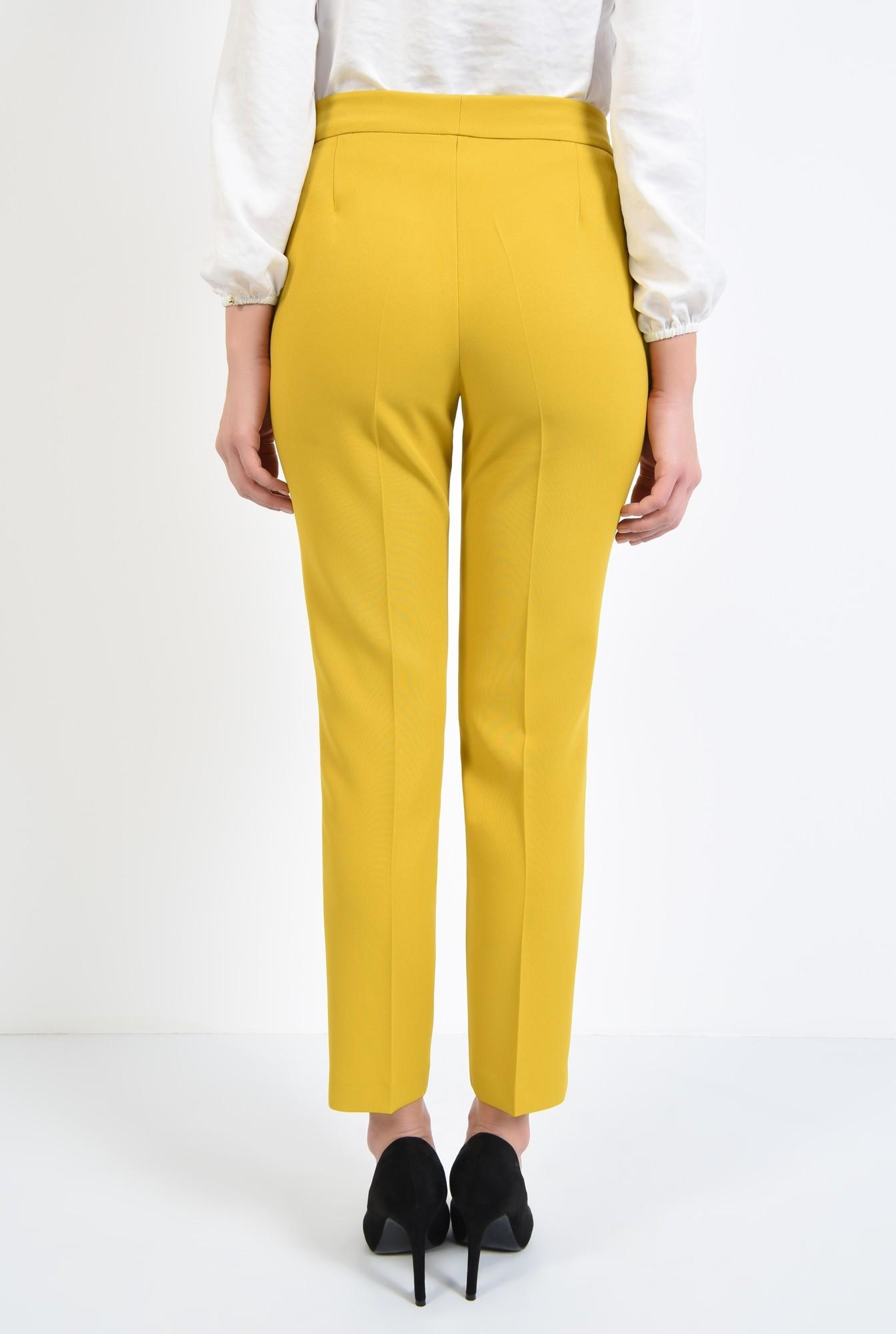 1 - pantaloni casual, tigareta, croi la dunga, mustar, pantaloni conici