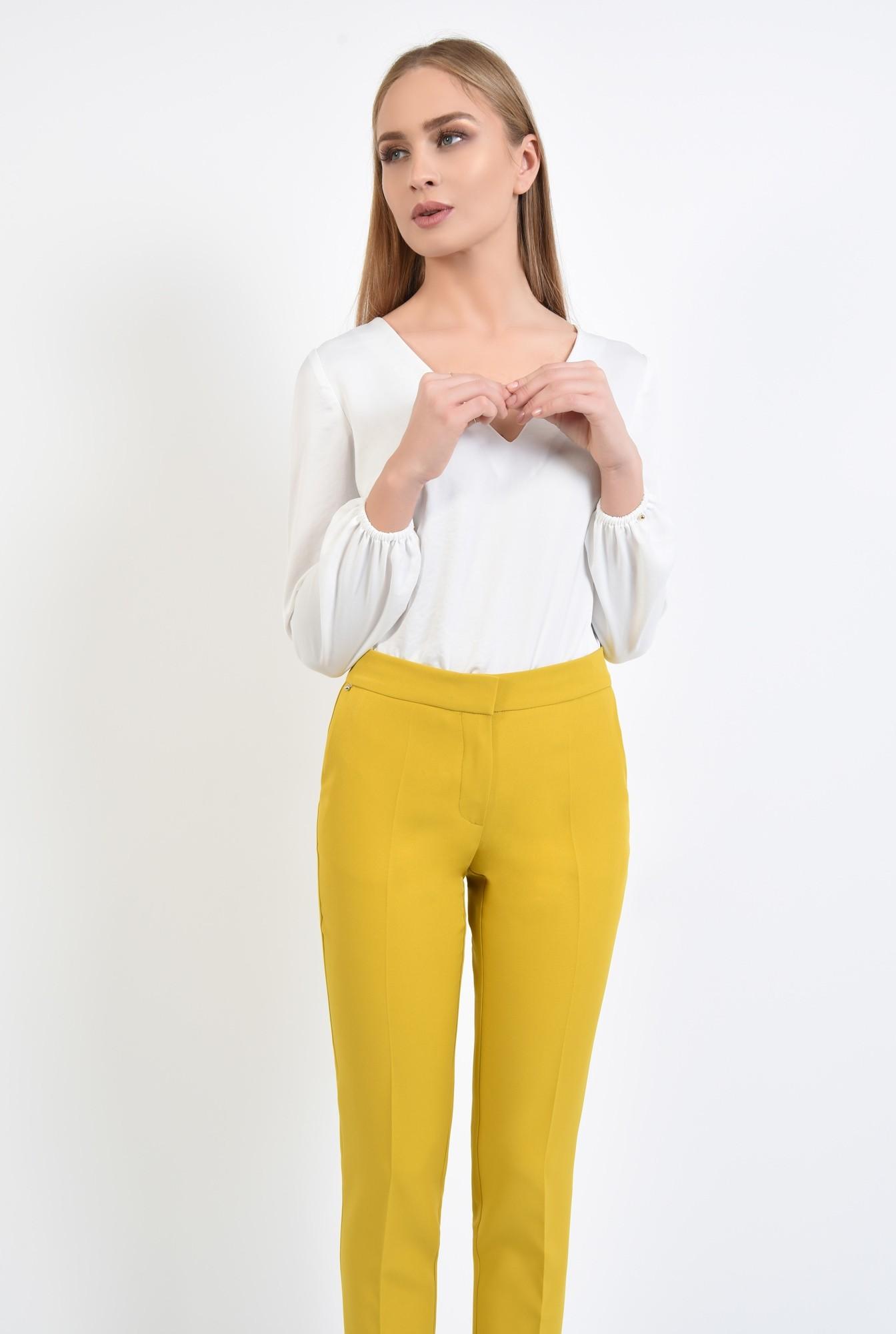 2 - pantaloni casual, tigareta, croi la dunga, mustar, pantaloni conici
