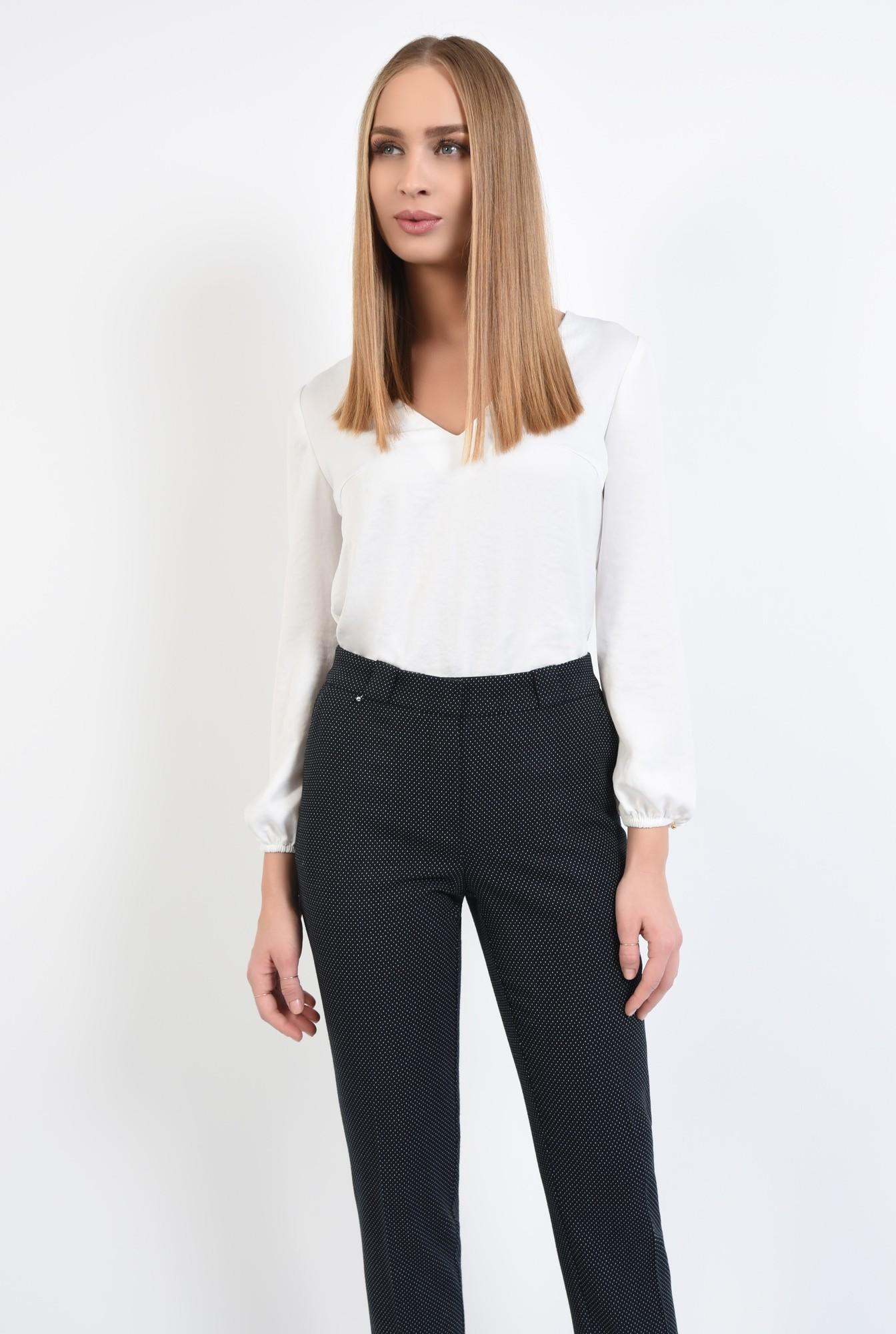 1 - pantaloni de zi, cu buline mici, picouri albe, pantaloni negri