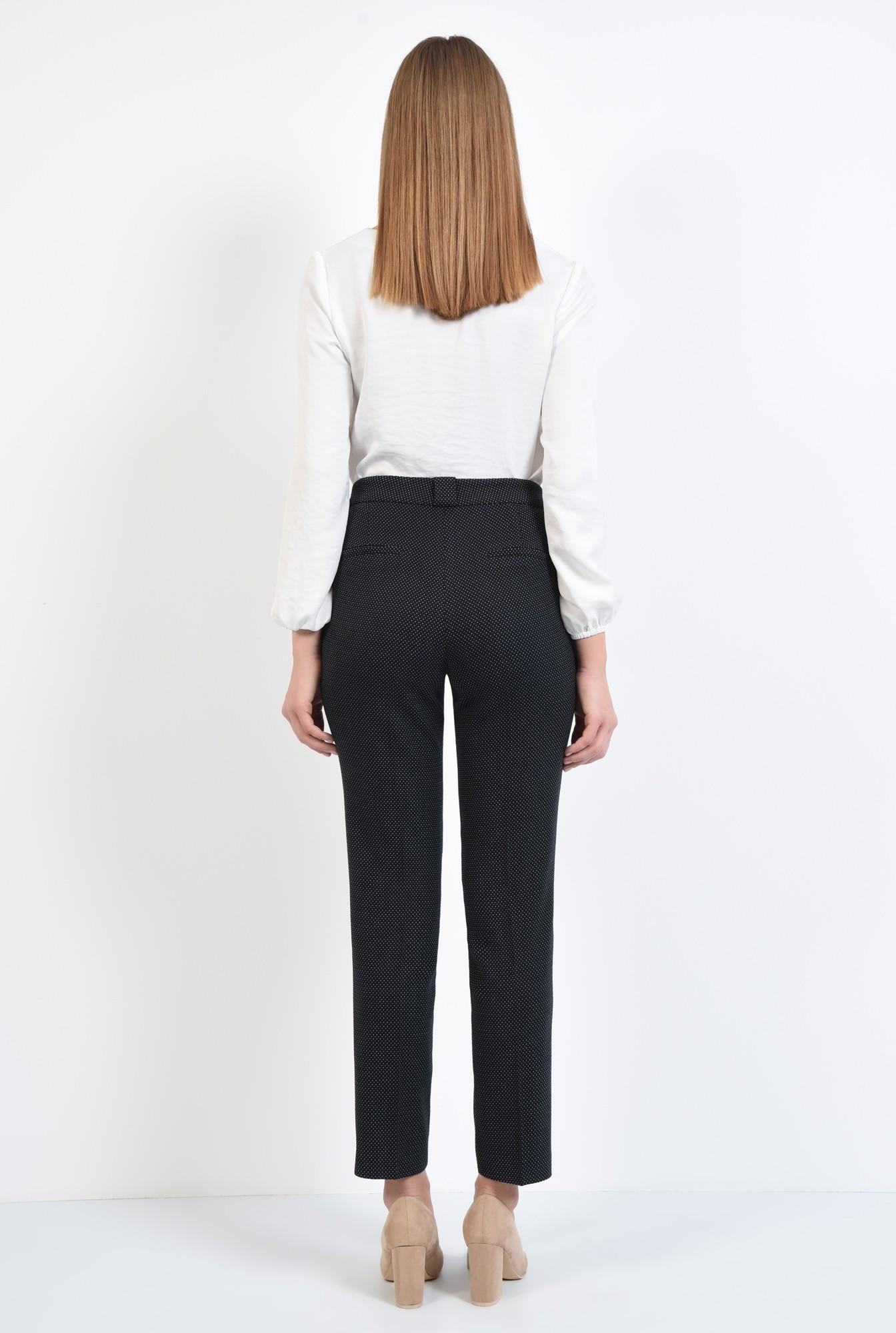 2 - pantaloni de zi, cu buline mici, picouri albe, pantaloni negri