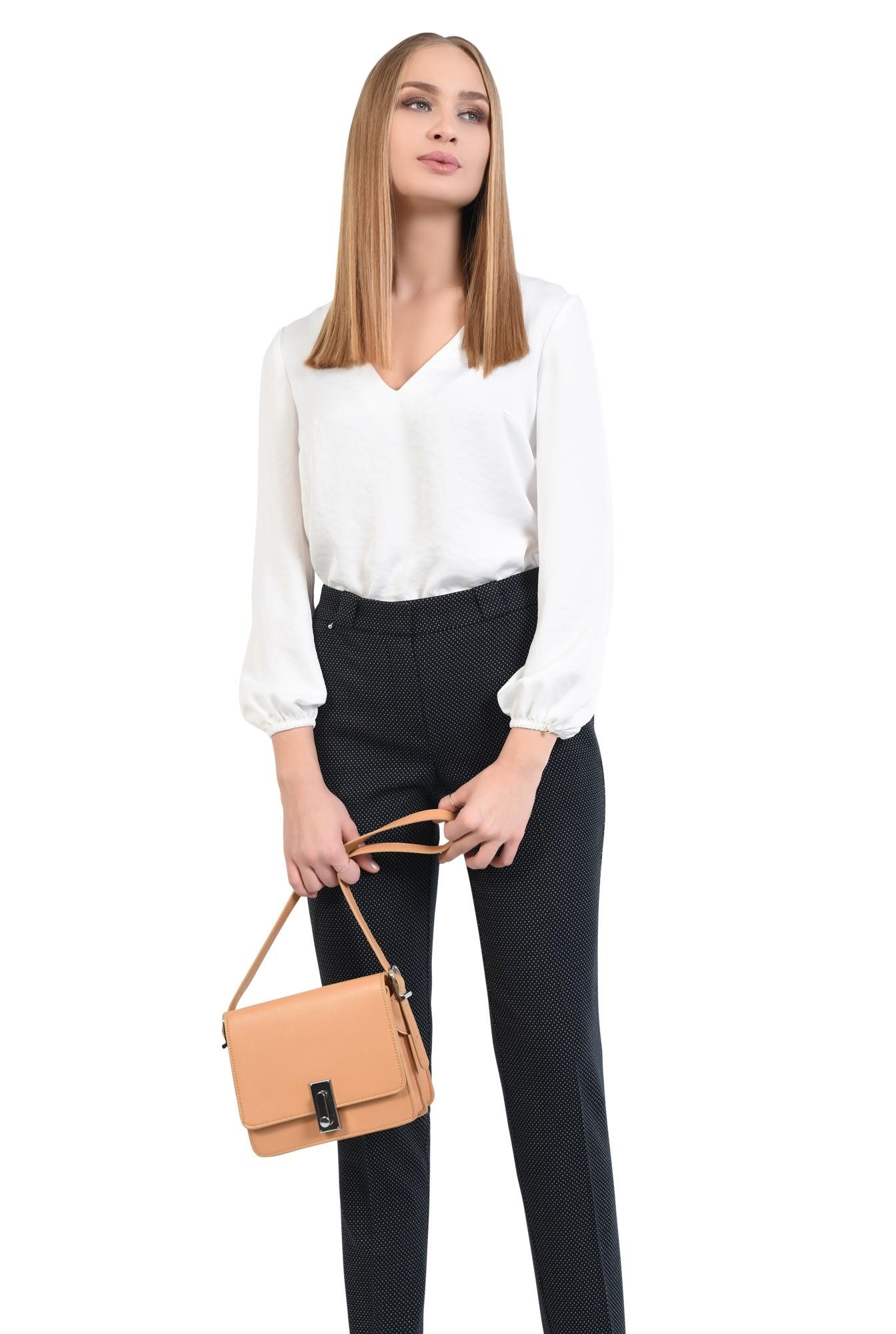 0 - pantaloni de zi, cu buline mici, picouri albe, pantaloni negri