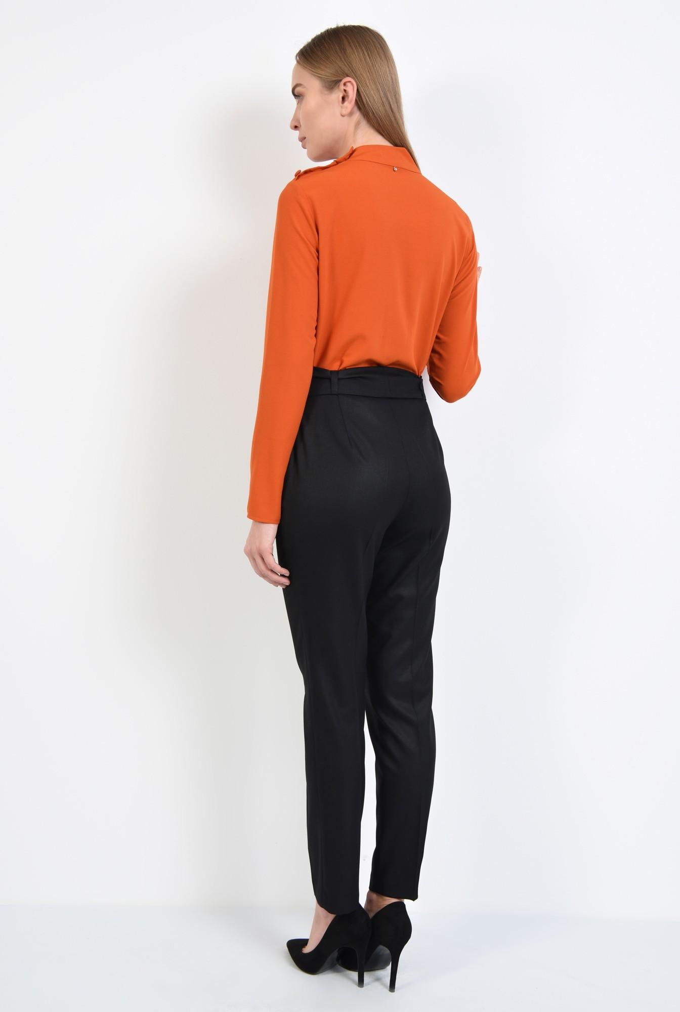 1 - pantaloni cu funda, talie medie, cordon, croi tigareta