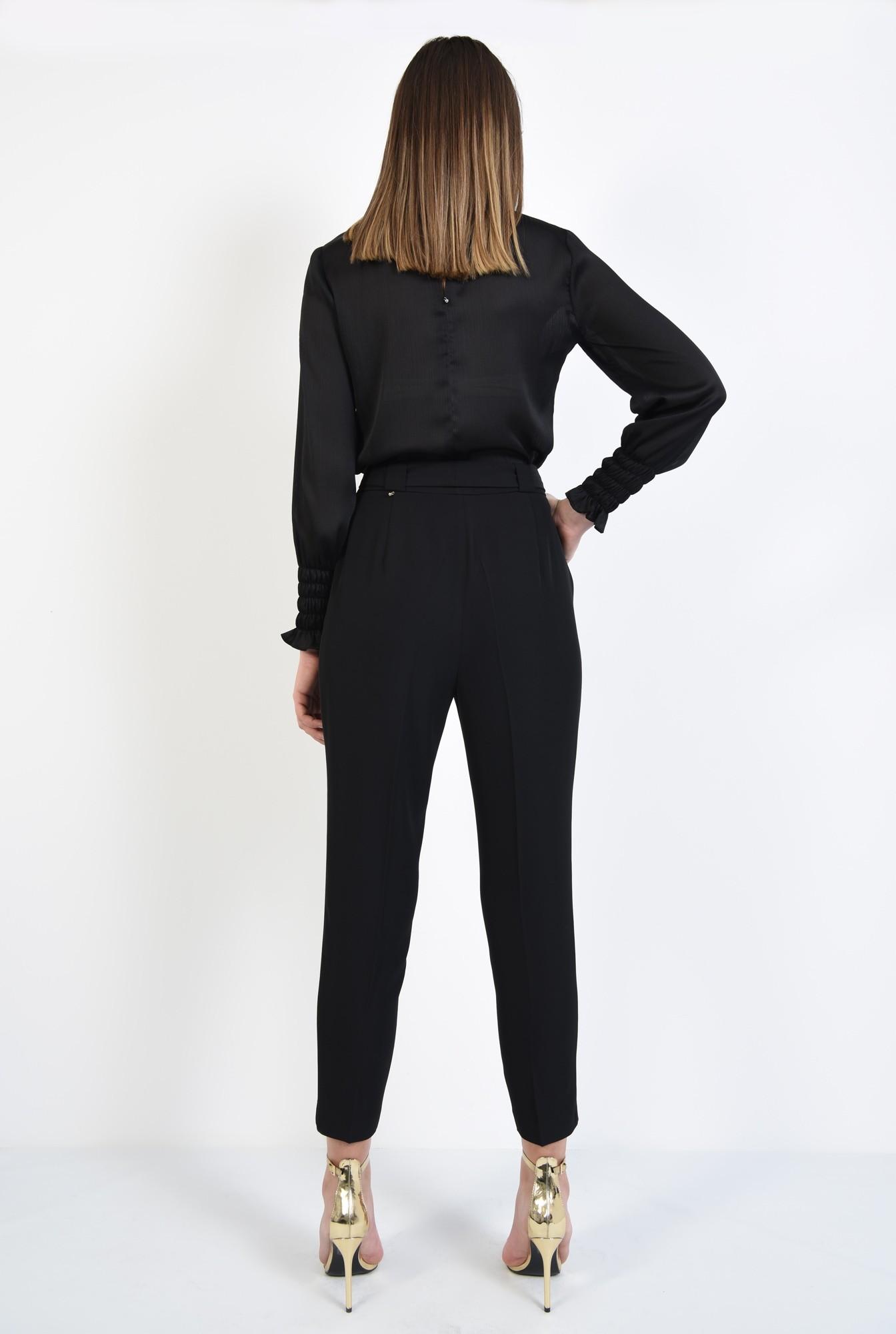 1 - pantaloni tigareta, cu talie inalta, cu cordon, croi conic