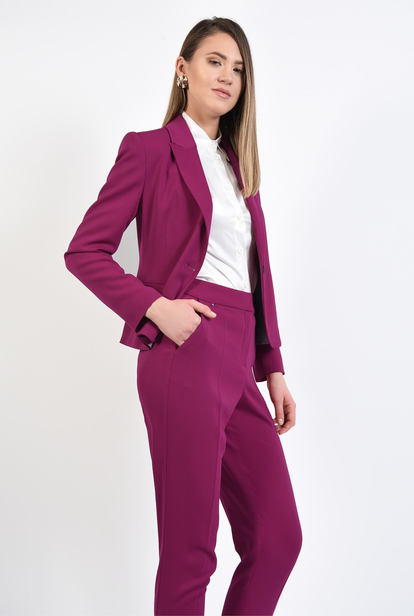 1 - pantaloni magenta, conici, casual, cu talie medie, cu betelie