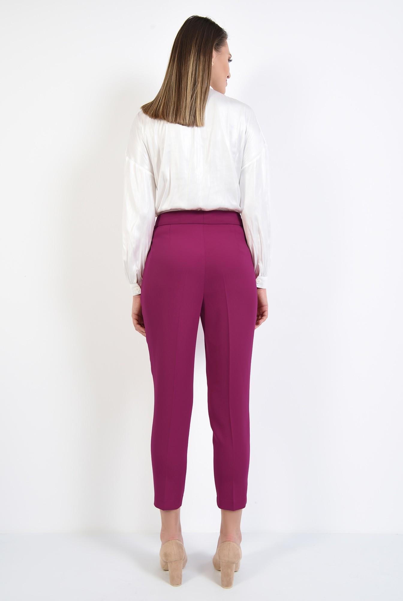 3 - pantaloni magenta, conici, casual, cu talie medie, cu betelie