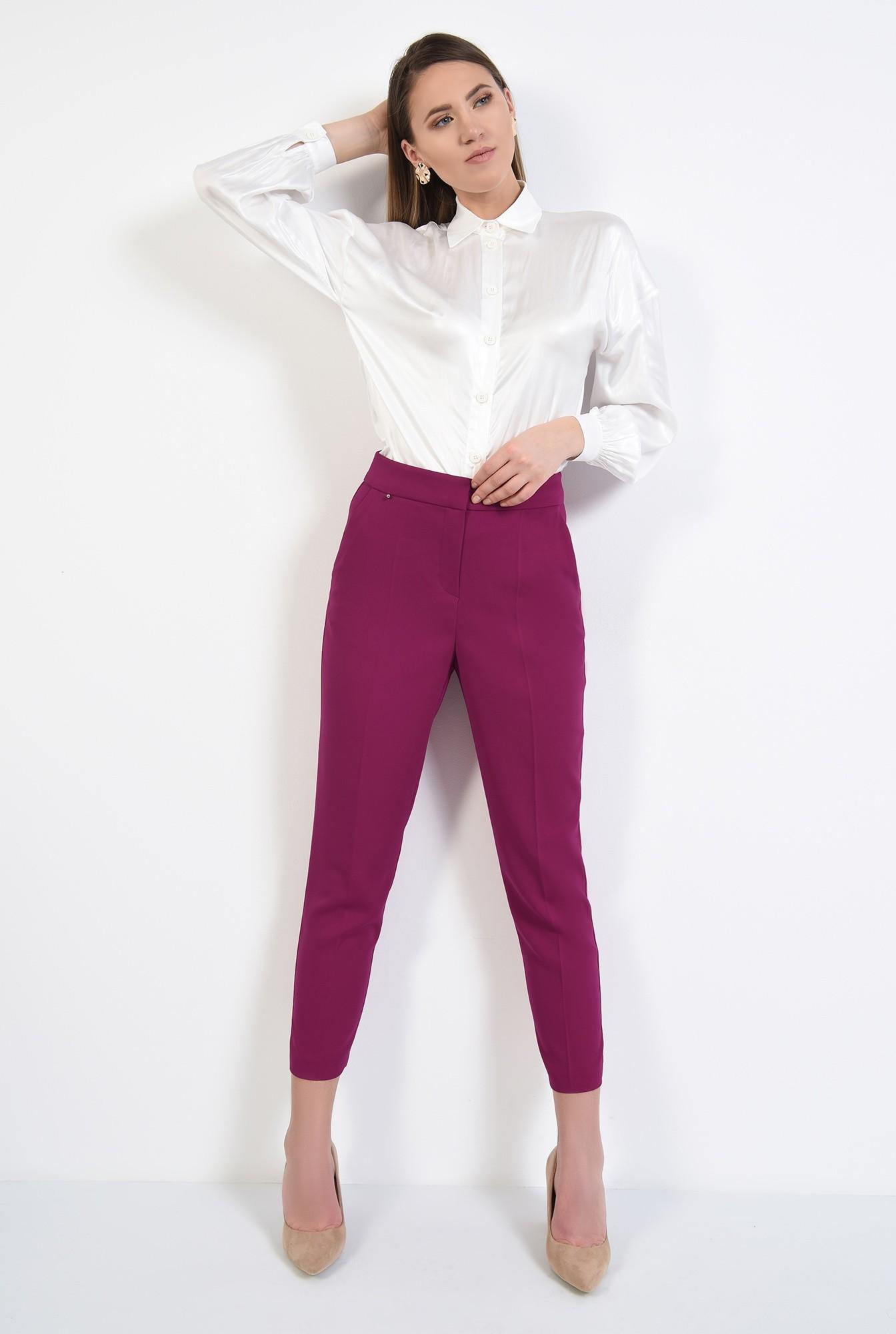 2 - pantaloni magenta, conici, casual, cu talie medie, cu betelie