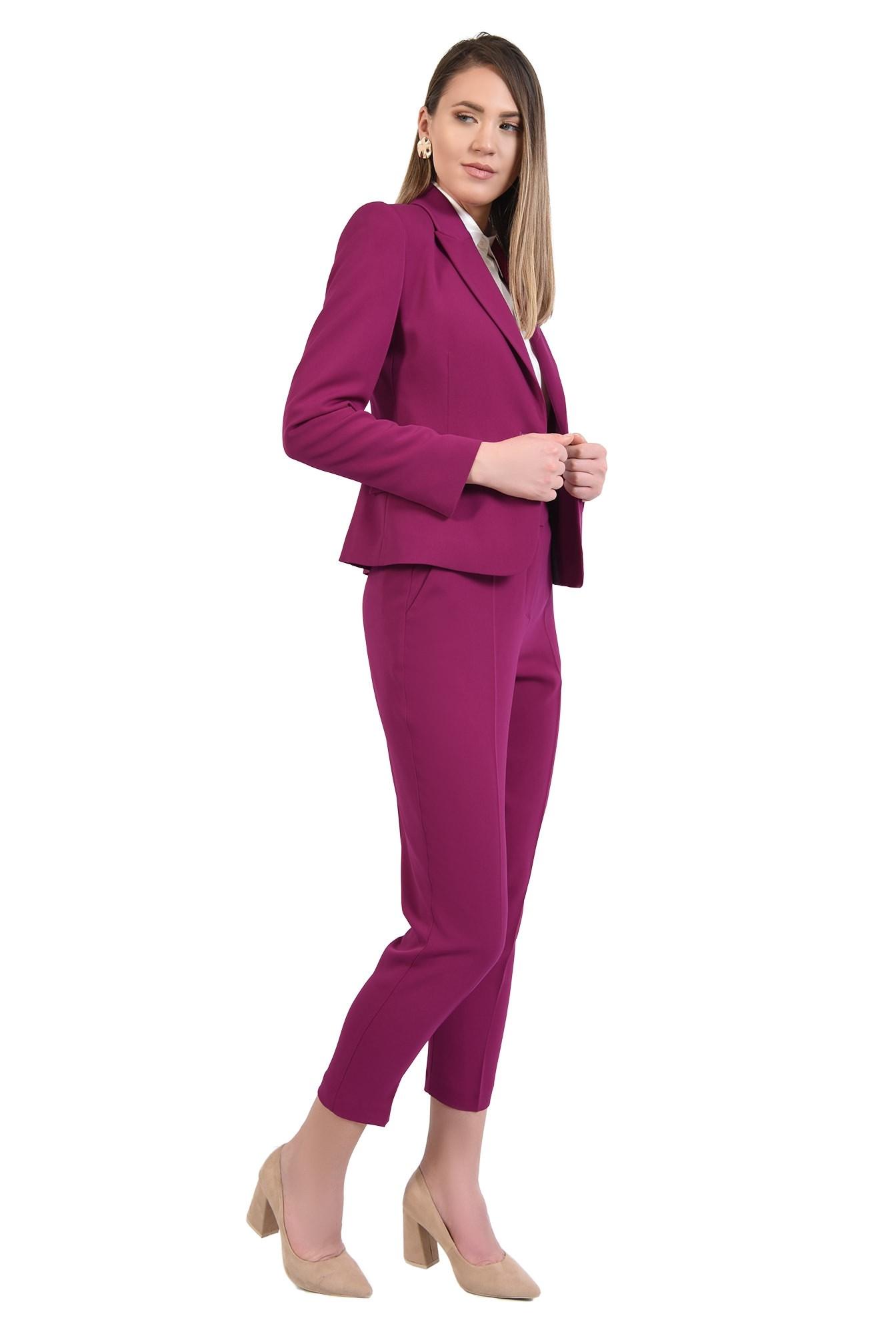0 - pantaloni magenta, conici, casual, cu talie medie, cu betelie