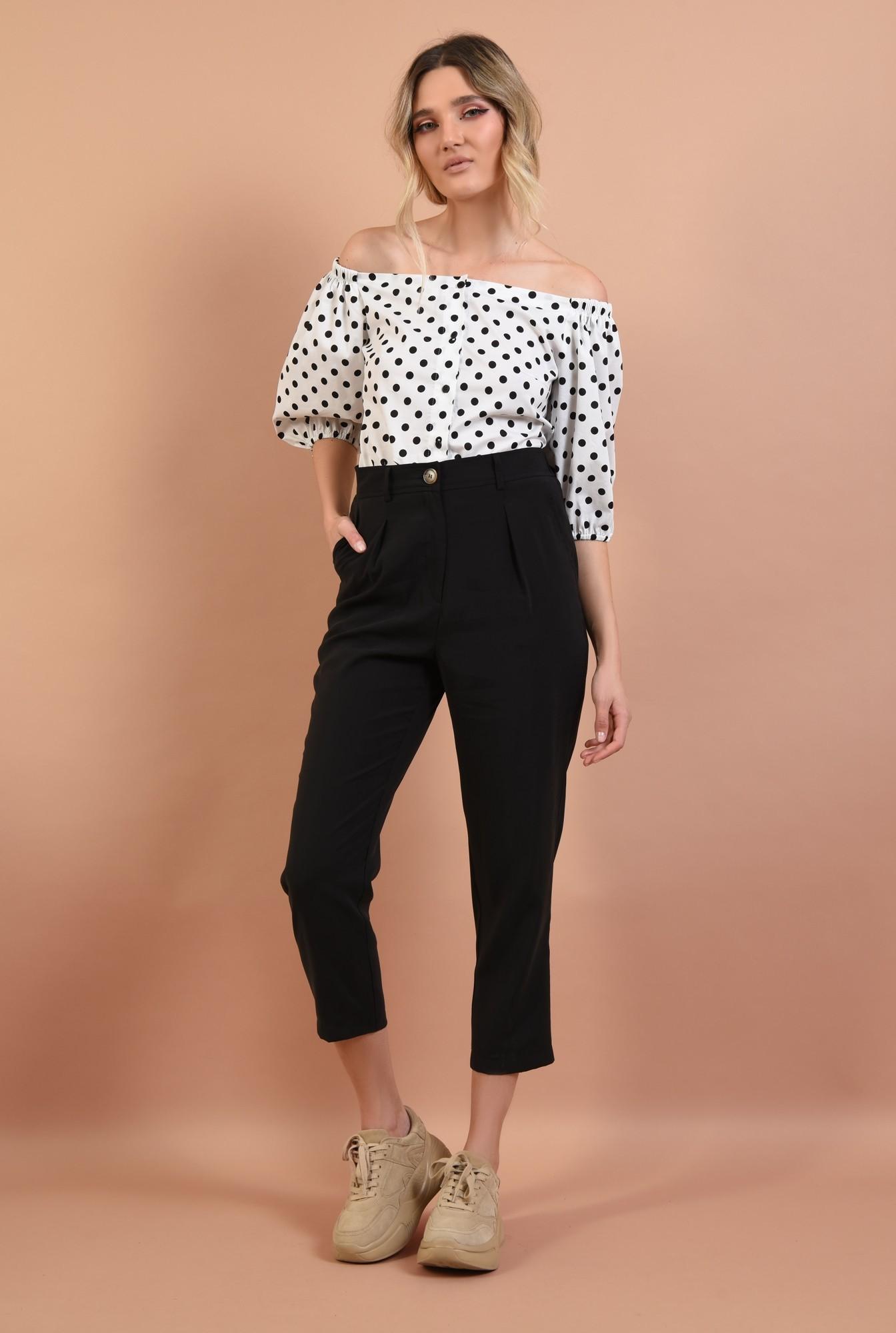 3 - pantaloni casual, conici, cu pense, negru, cu buzunare