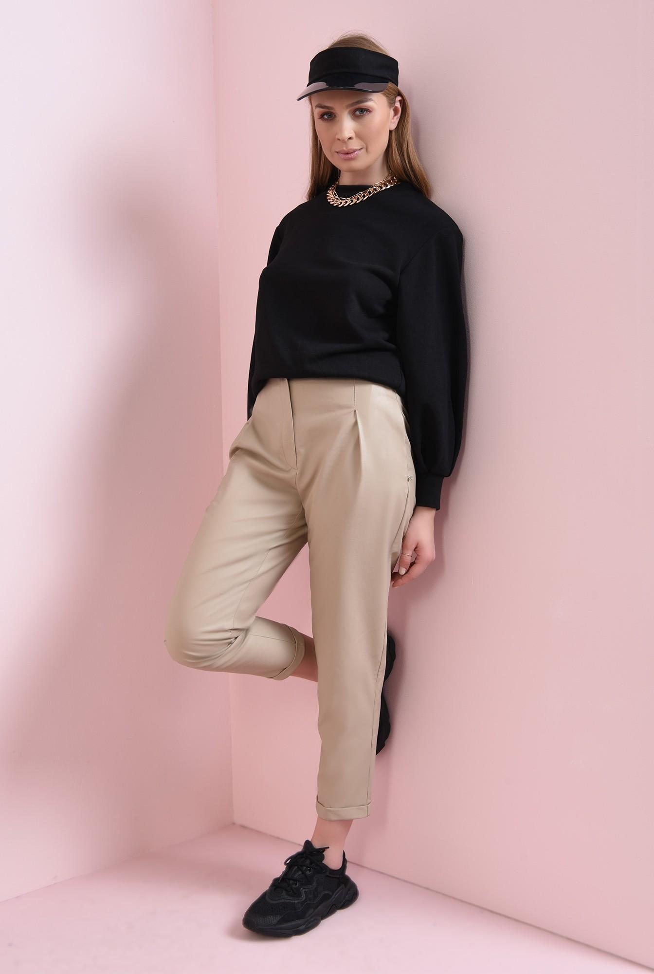 0 - pantaloni casual, cu talie medie, cu buzunare