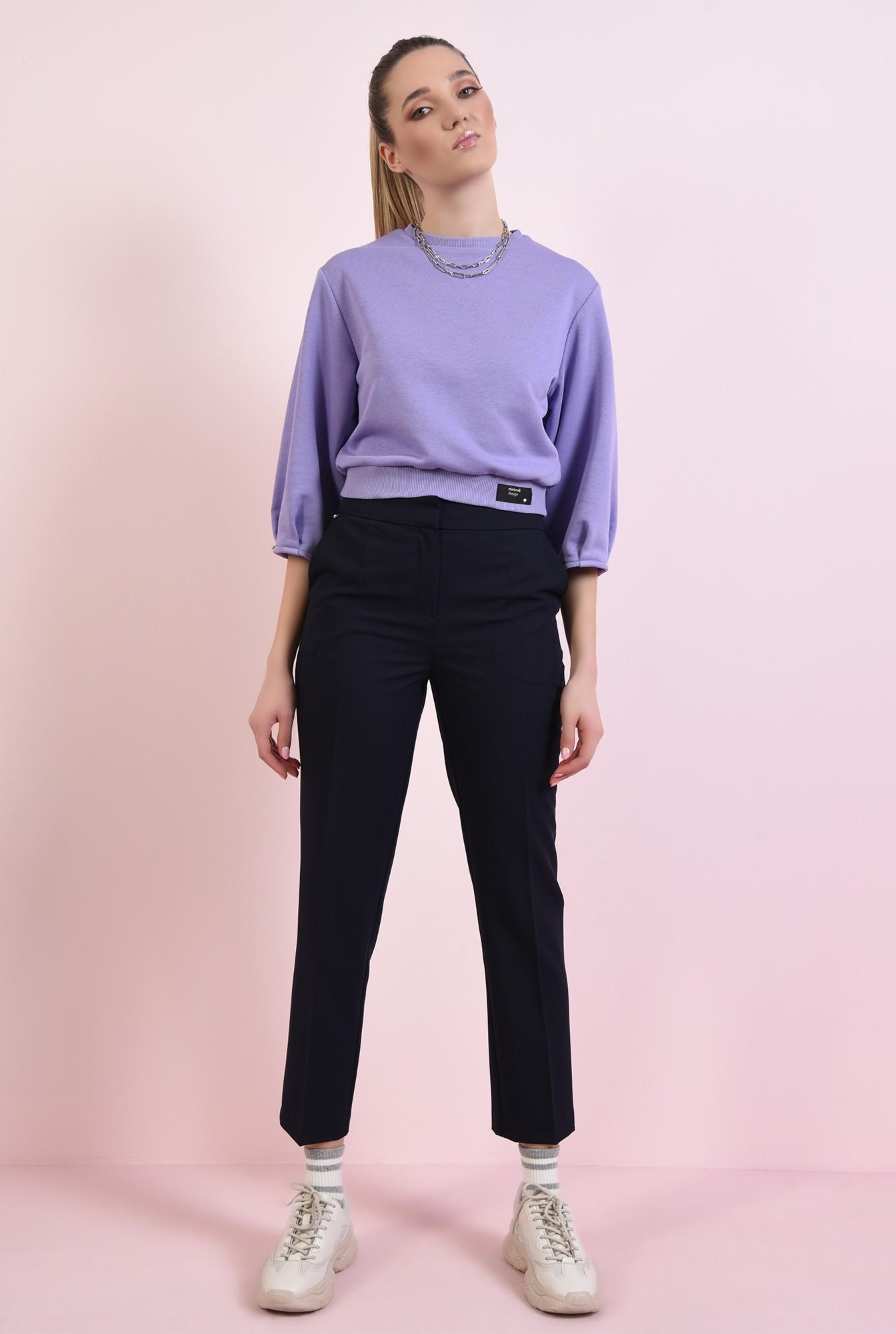 1 - pantaloni navy, casual, cu talie medie