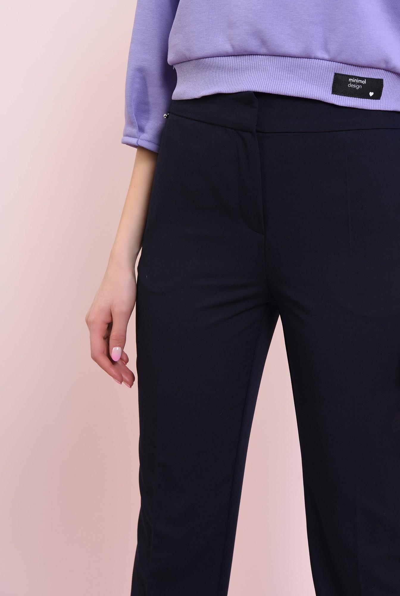 2 - pantaloni navy, casual, cu talie medie
