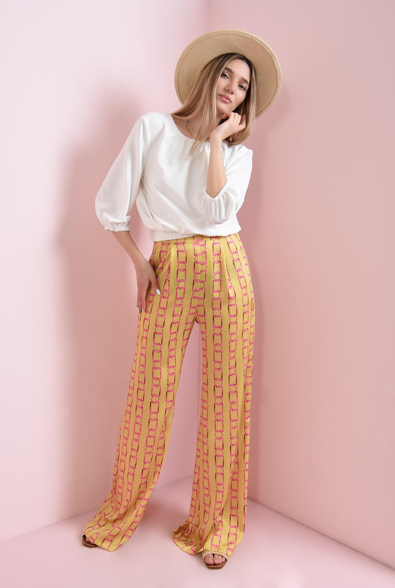 0 - pantaloni cu print, din satin