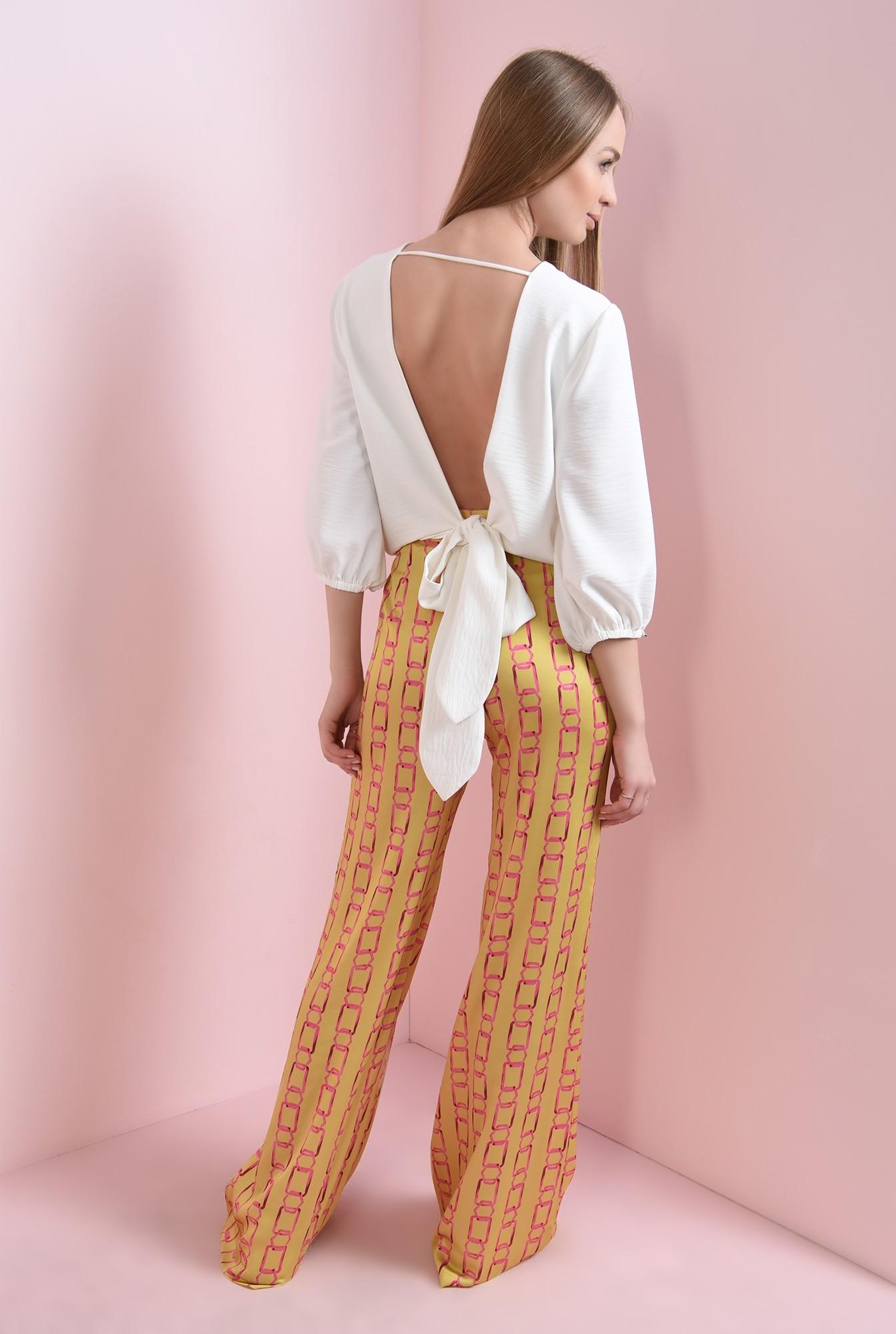 1 - 360 - pantaloni mustar, cu imprimeu lant