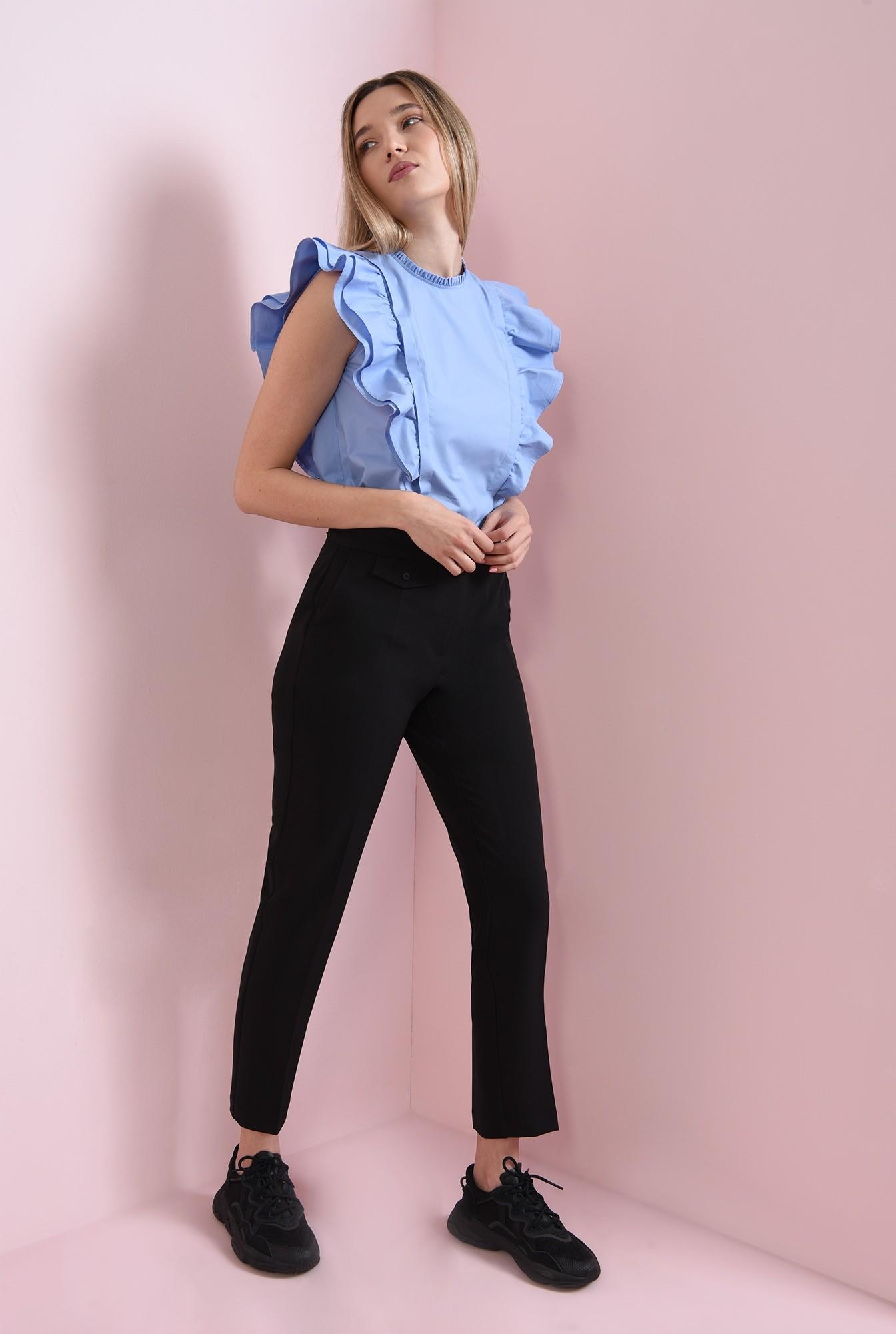 0 - pantaloni casual, negri, cu talie medie