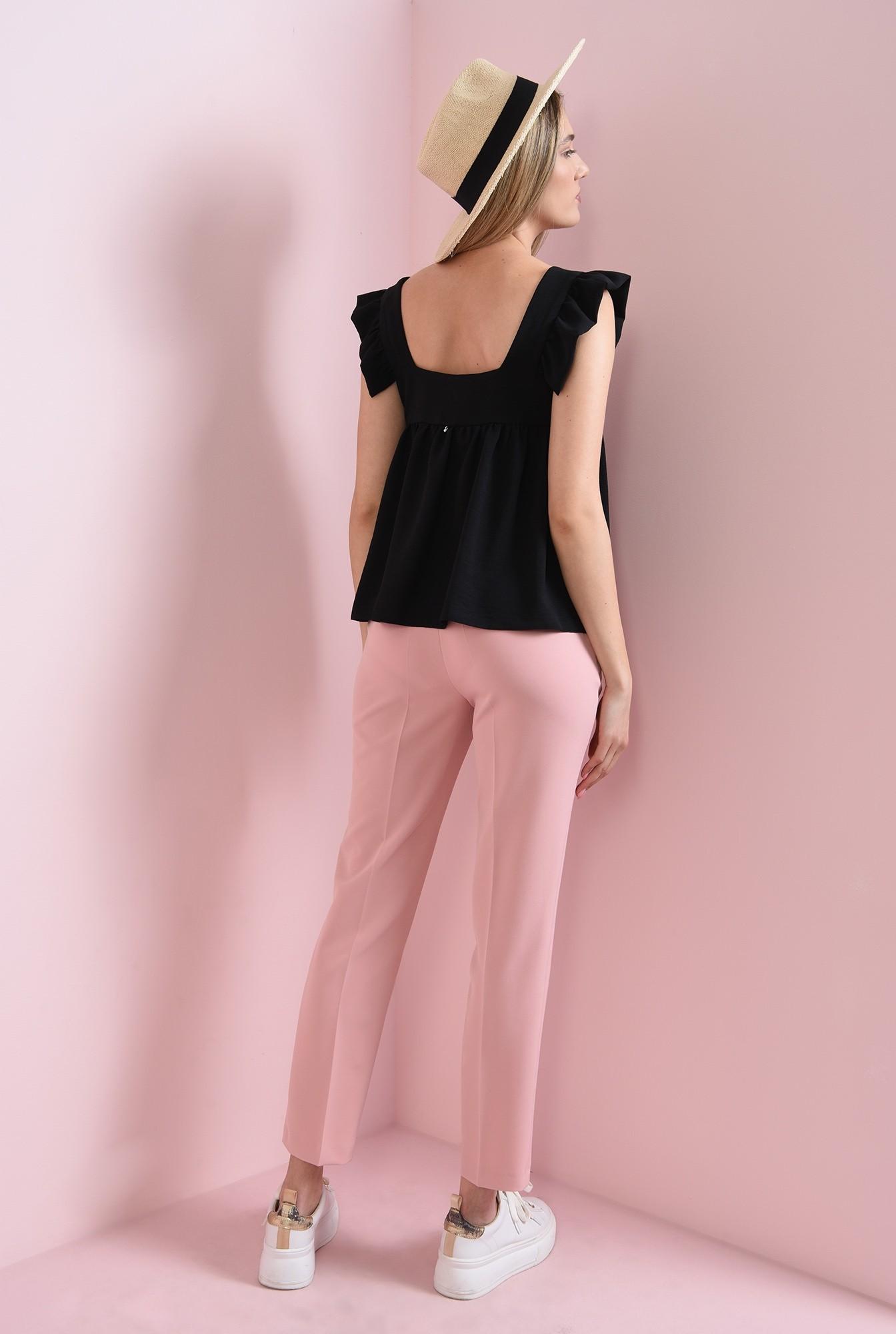1 - pantaloni casual, roz, cu buzunar decorativ