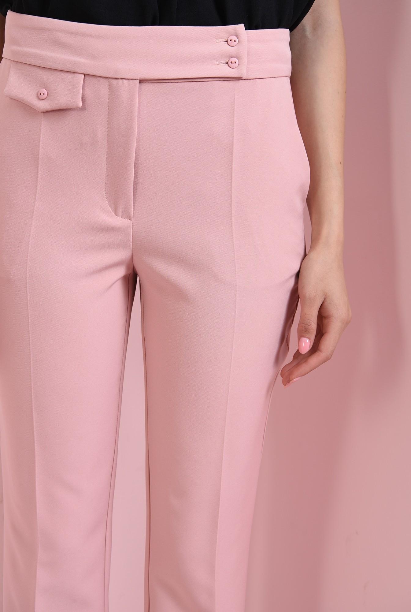 2 - pantaloni casual, roz, cu buzunar decorativ