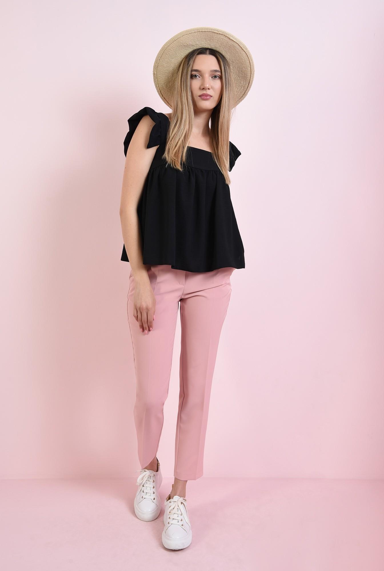 0 - pantaloni casual, roz, cu buzunar decorativ